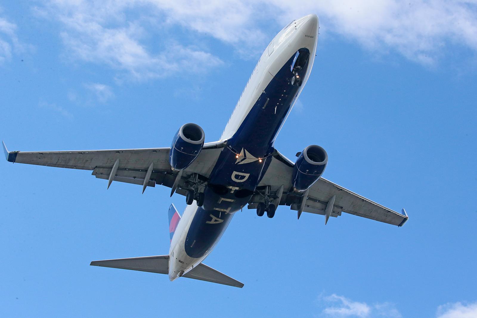 A Delta Air Lines jet lands at Salt Lake City International Airport in Salt Lake City, Utah on April 22.