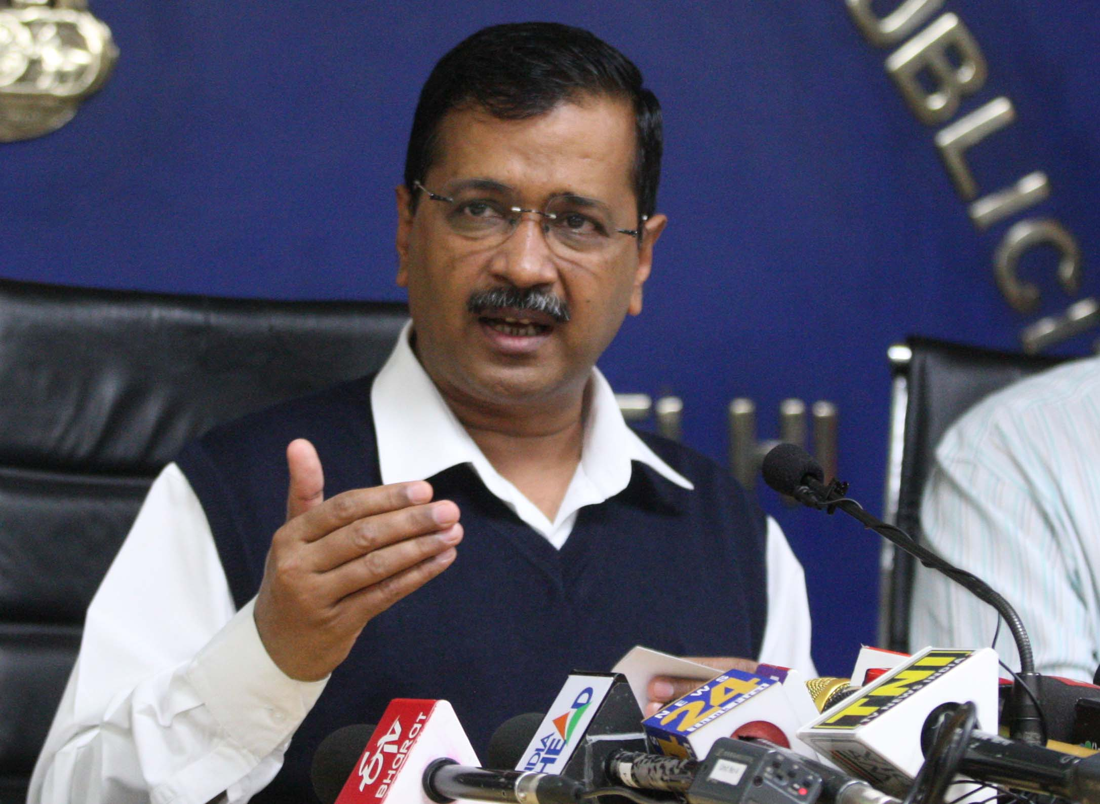 Chief Minister of Delhi Arvind Kejriwal addresses a press conference in New Delhi, India, on March 16.