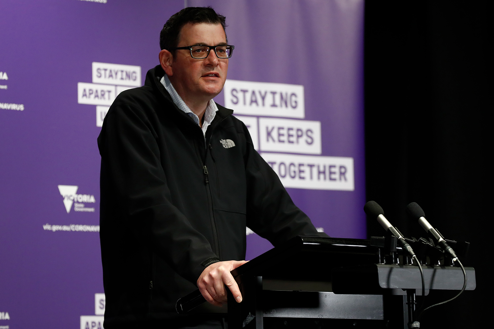 Victorian Premier Daniel Andrews speaks to the media at the daily briefing in Melbourne, Australia on August 09.
