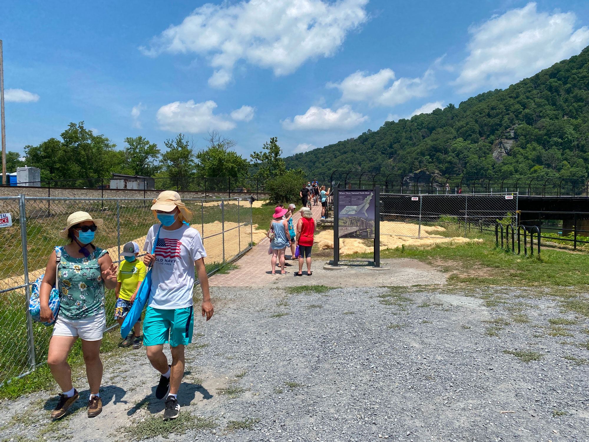 Tourists visit the Harpers Ferry Historial Park in Harpers Ferry, West Virginia, on July 3.