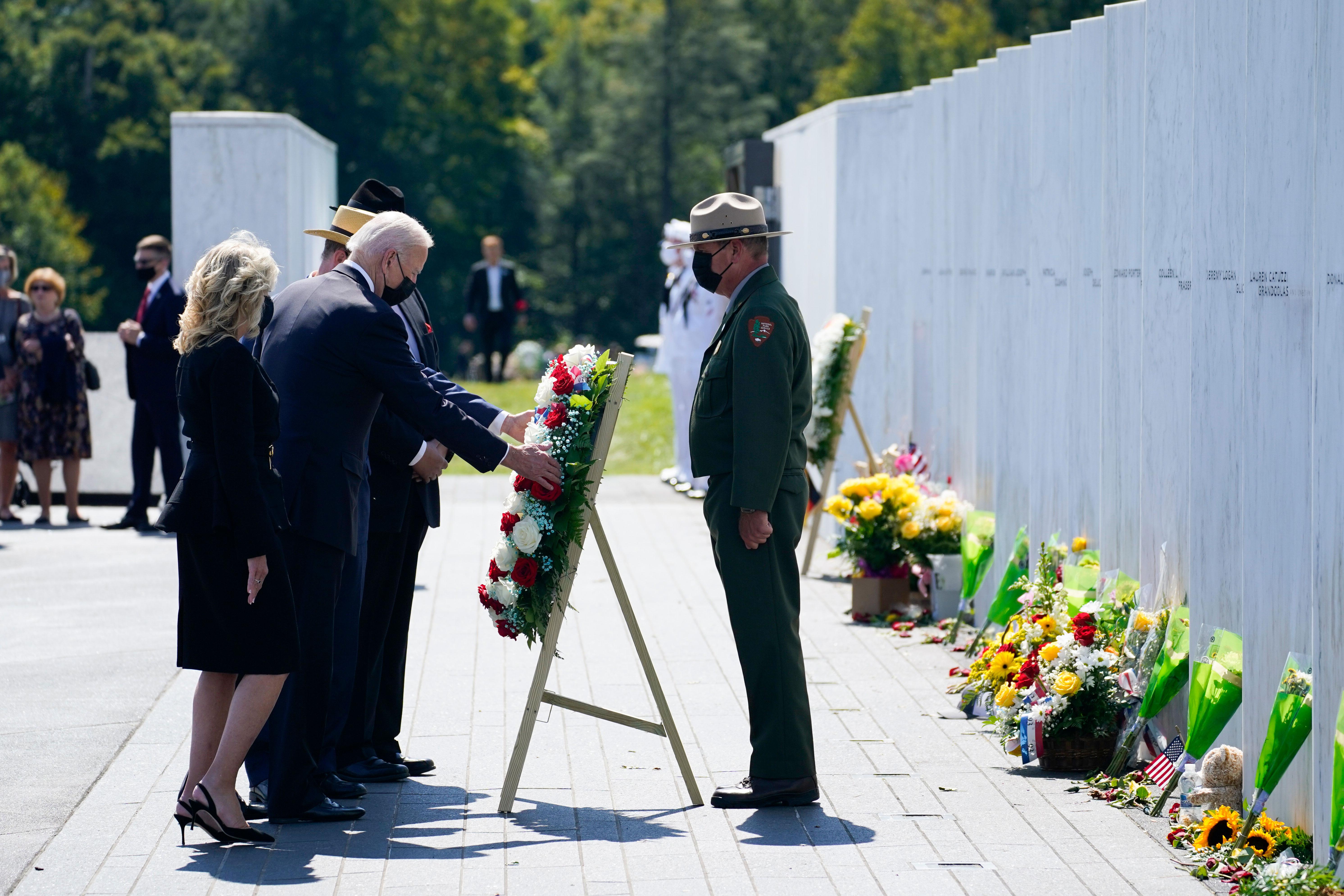 President Joe Biden and first lady Jill Biden lay a wreath at the Flight 93 National Memorial in Shanksville, Pennsylvania, on September 11.