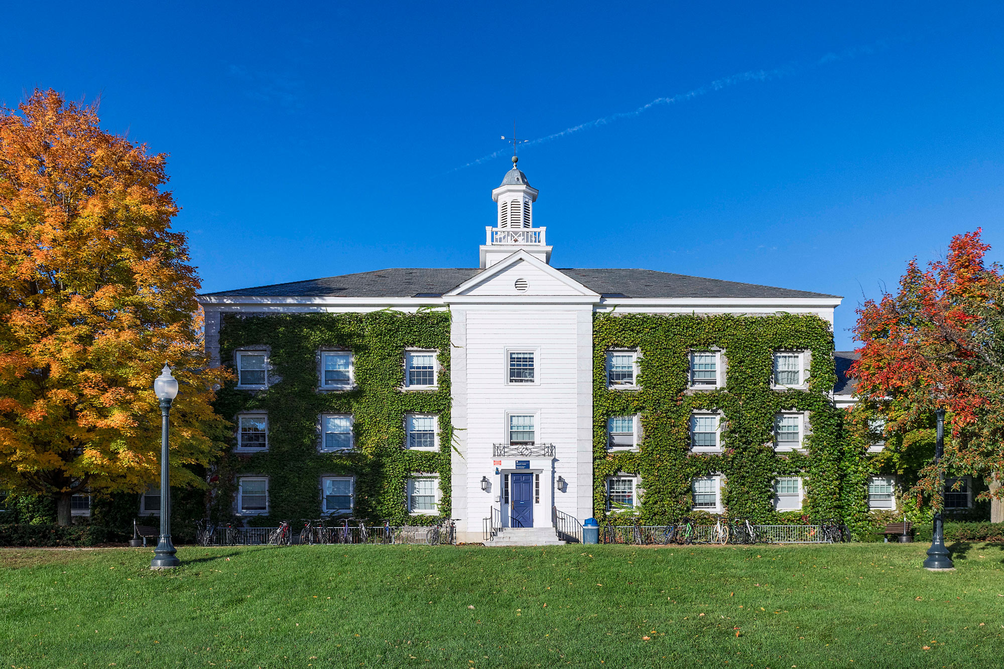 Battell Hall stands on the Middlebury College campus in Middlebury, Vermont, on October 14, 2018.