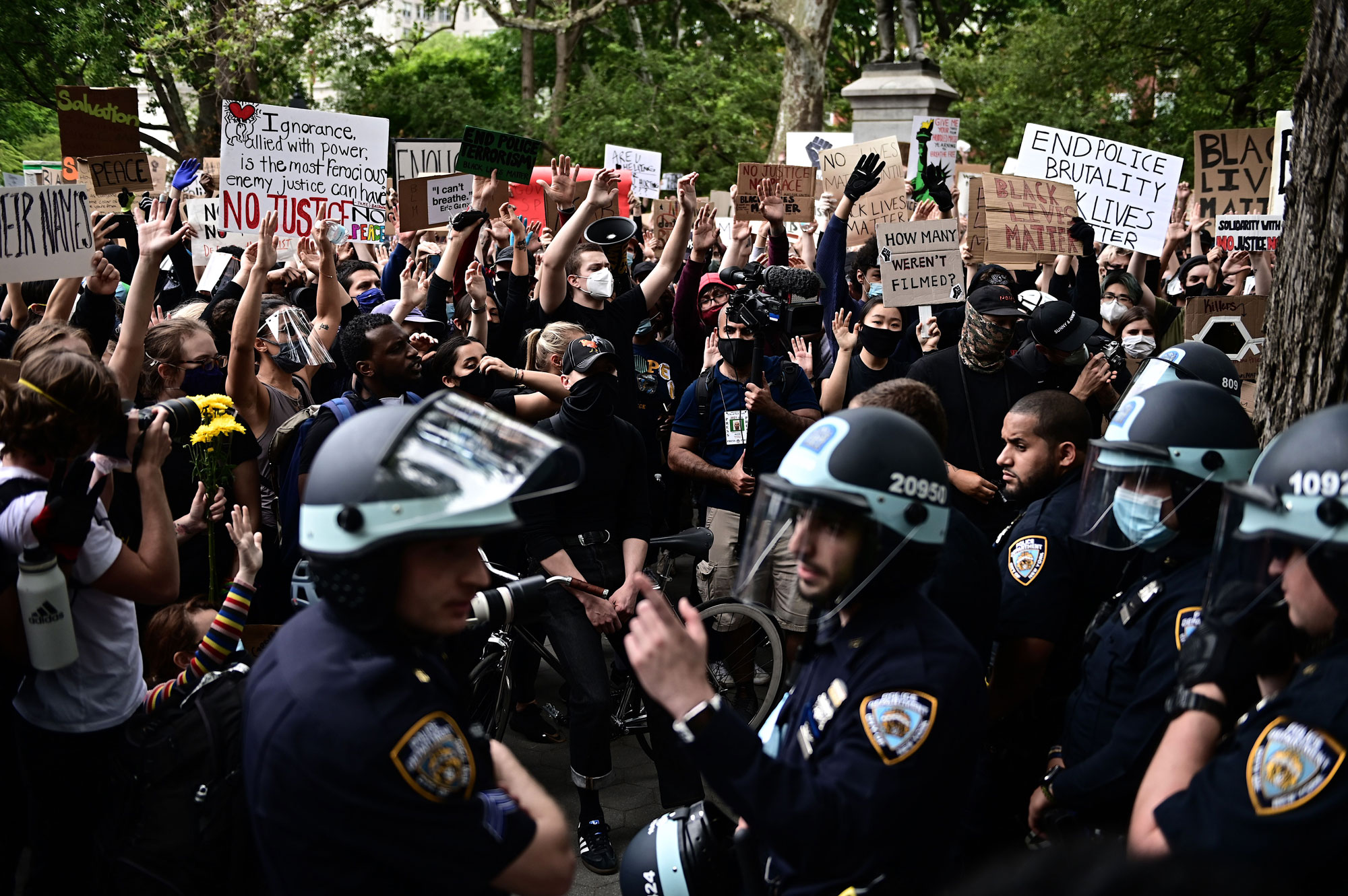 "Protesters demonstrate on June 2 during a ""Black Lives Matter"" protest in New York."