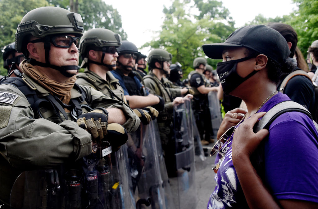Police face demonstrators near the White House in Washington, DC, on June 3.
