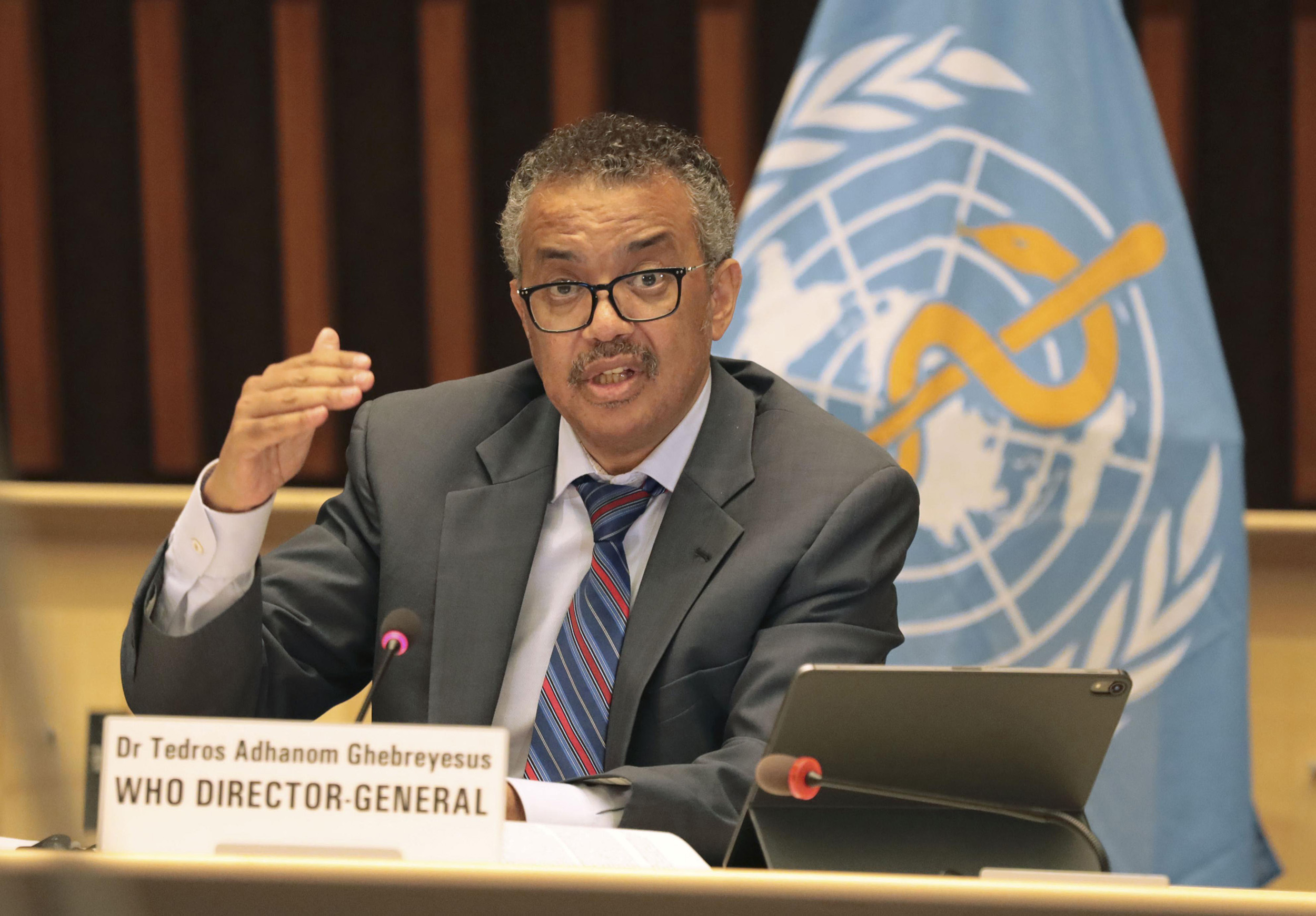 World Health Organization Director General Dr. Tedros Adhanom Ghebreyesus speaks at a news conference at its head office in Geneva on July 3.