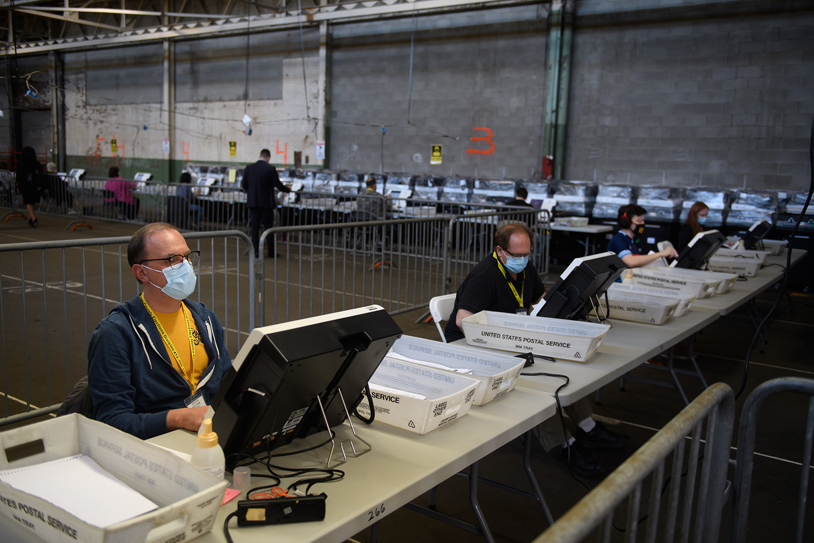 Election officials proceed with the counting of ballots at the Allegheny County elections warehouse on November 6, in Pittsburgh, Pennsylvania.