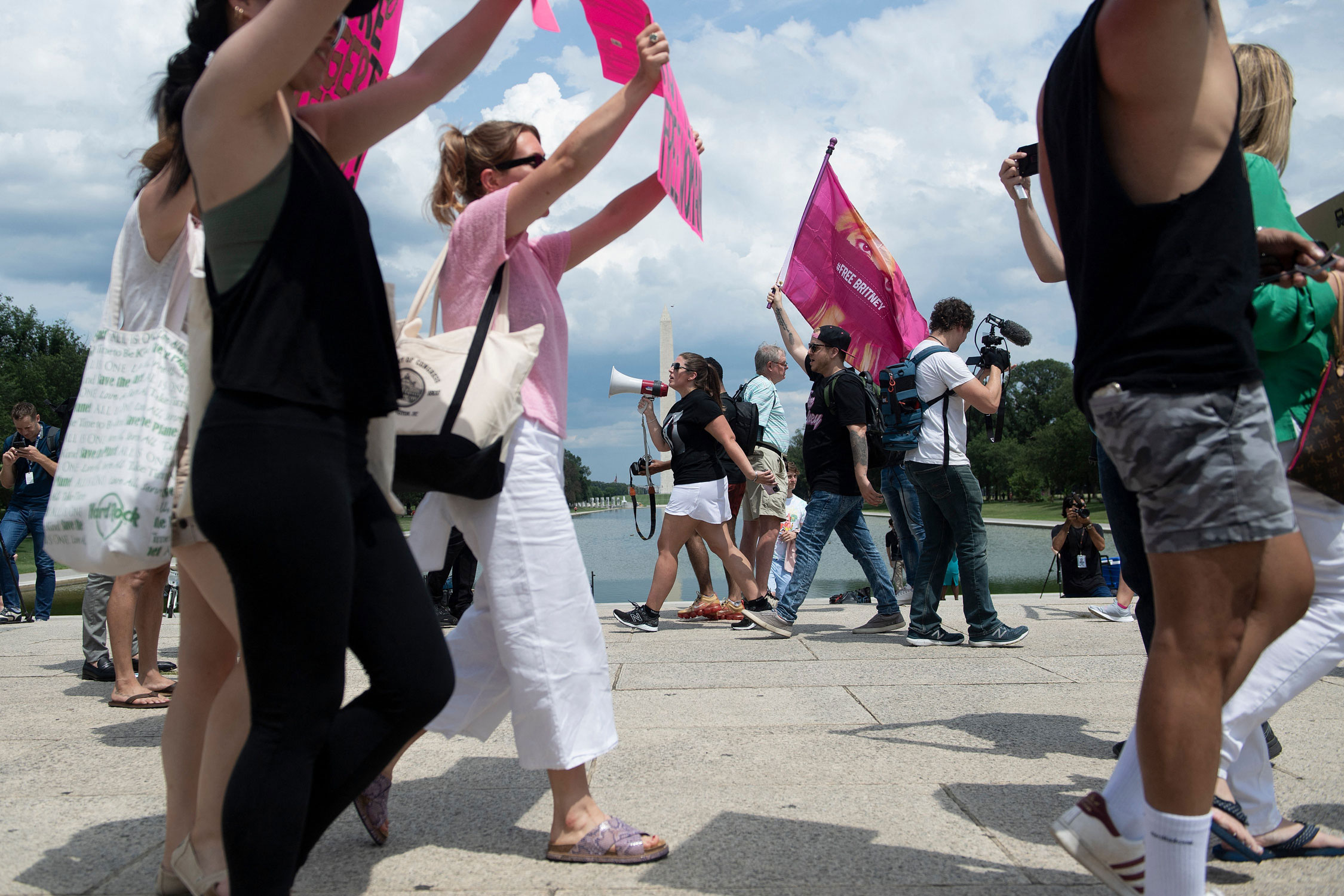 People rally successful  beforehand   of the Lincoln Memorial protesting the conservatorship of Britney Spears connected  Wednesday, July 14, successful  Washington, DC.