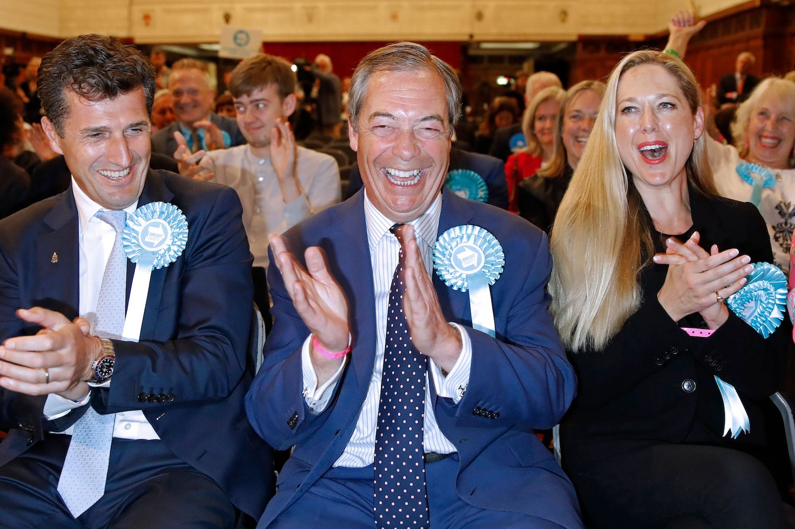 Nigel Farage, leader of the Brexit Party, reacts after being elected as a Member of the European Parliament on Sunday, May 27, 2019.