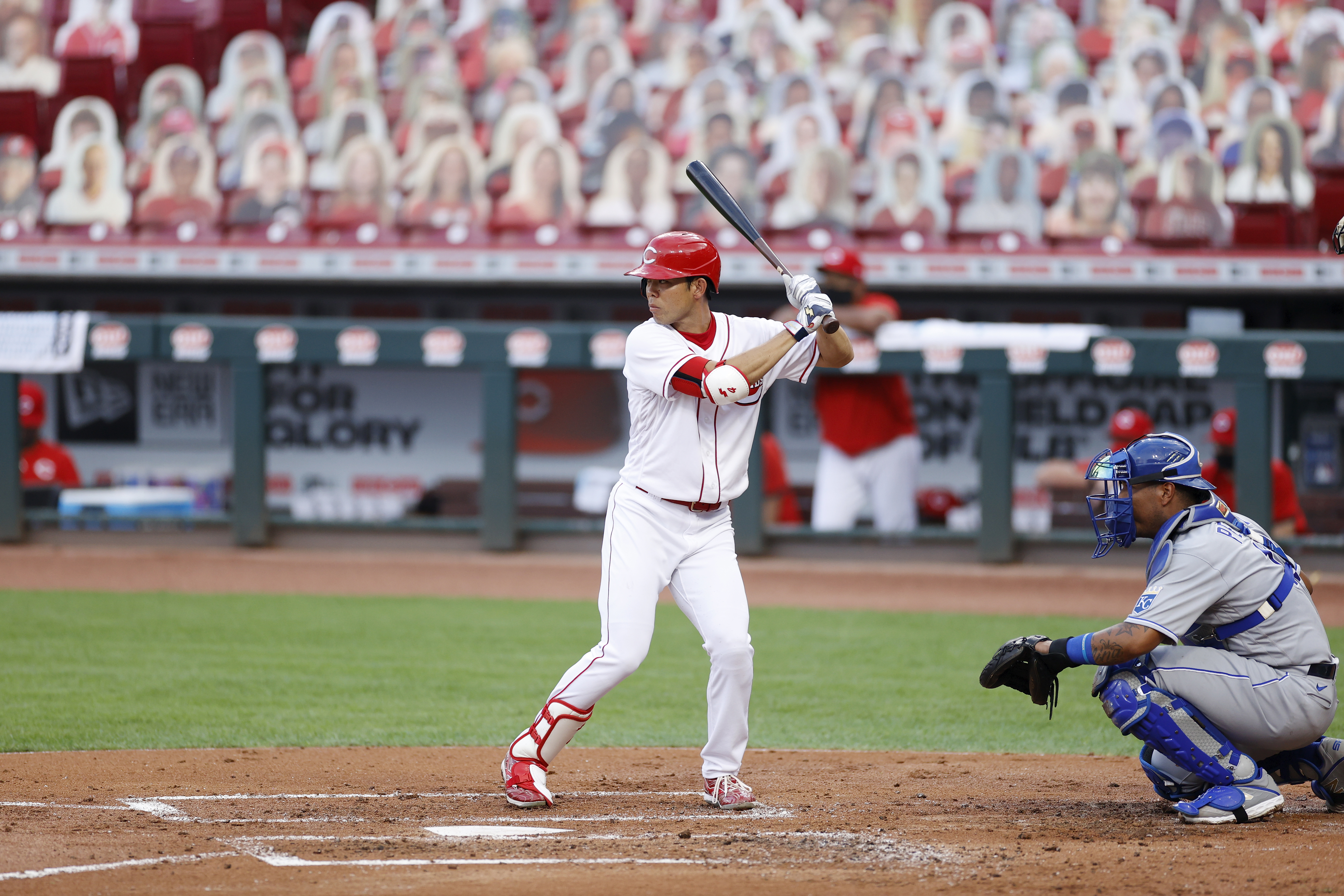 Shogo Akiyama of the Cincinnati Reds bats in the first inning of a game against the Kansas City Royals on Wednesday, August 12.