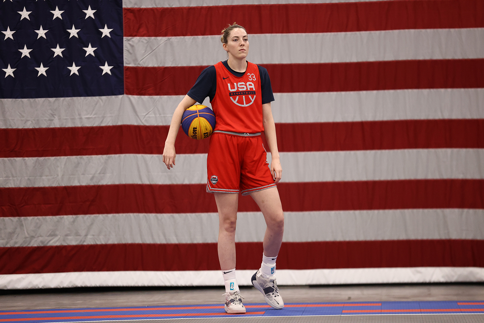 Katie Lou Samuelson #33 of the USA Women's National 3x3 Team looks on during USAB Womens 3x3 National Team practice at the Mandalay Bay Convention Center on July 17,  in Las Vegas, Nevada.
