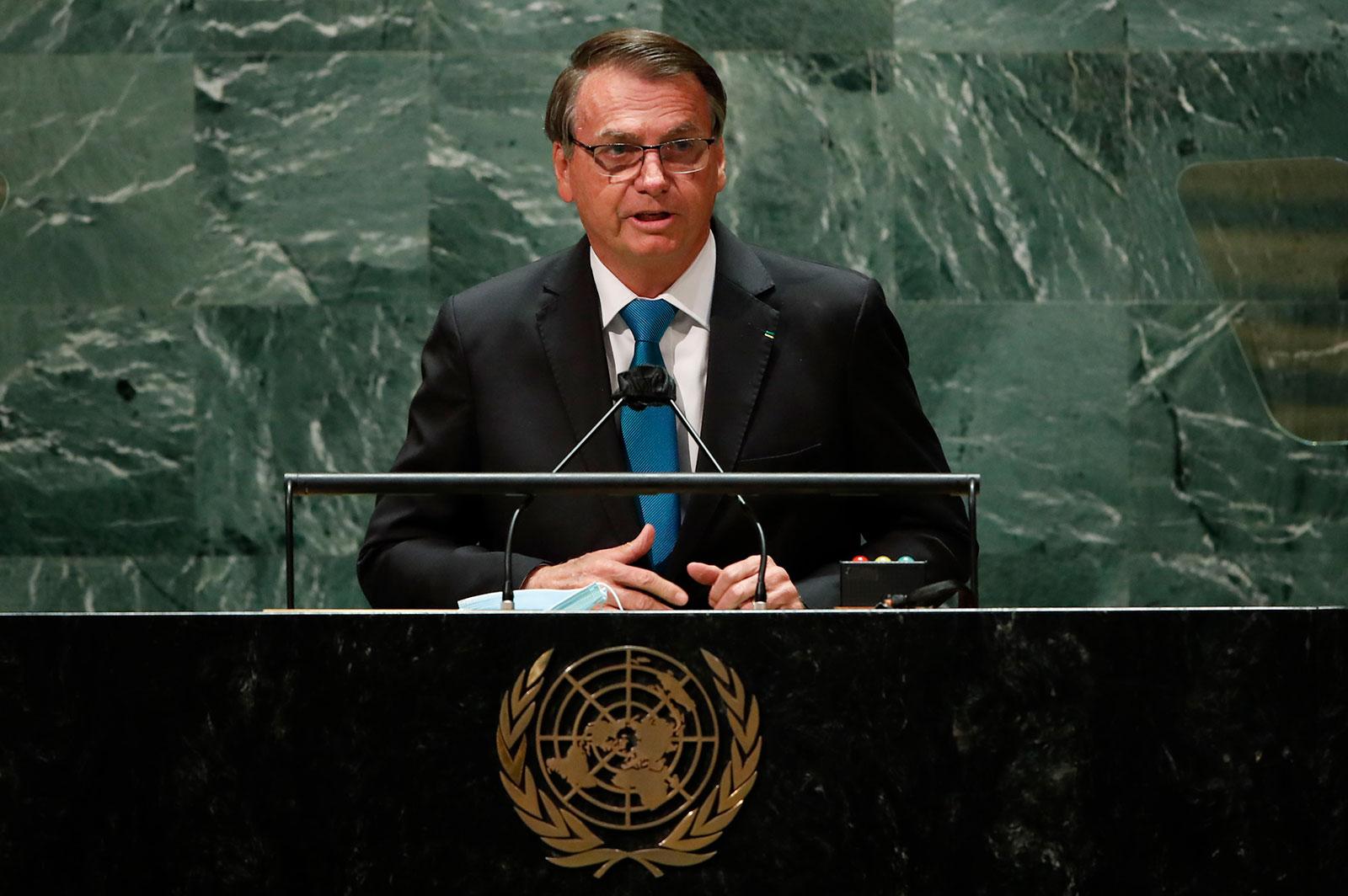 Brazilian President Jair Bolsonaro addresses the United Nations General Assembly on September 21.