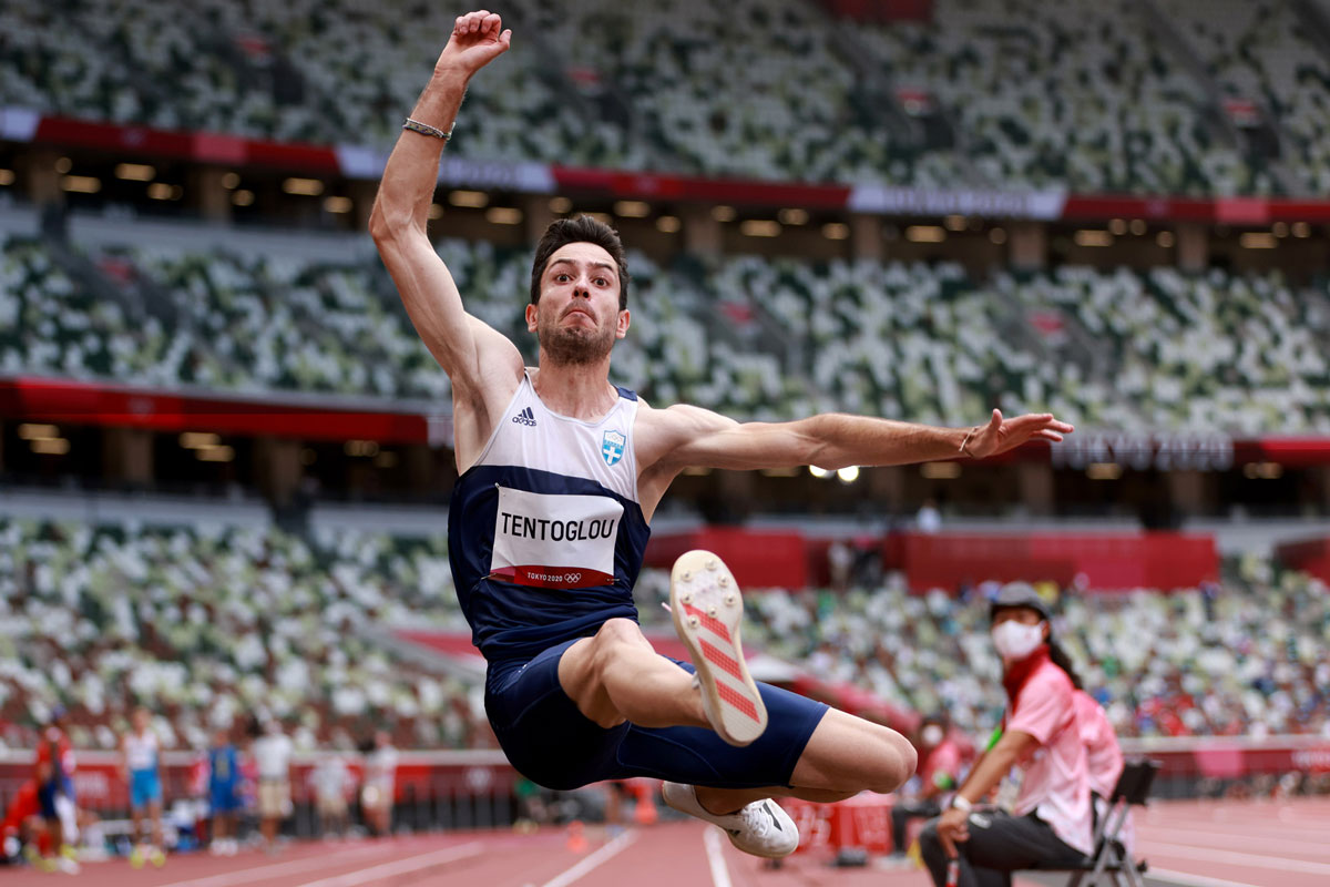 Miltiadis Tentoglou of Greece in action during the long jump final.