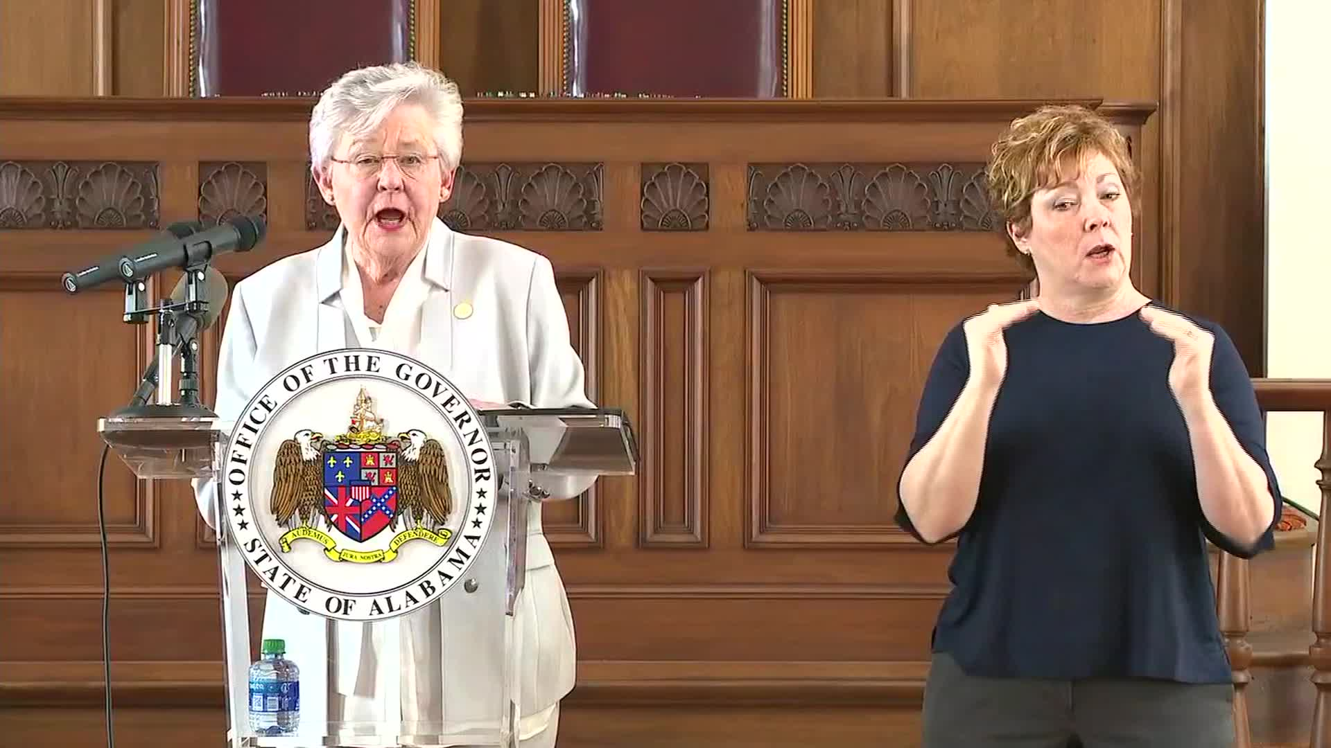 Alabama Gov. Kay Ivey speaks during a press conference in Montgomery, Alabama, on May 21.