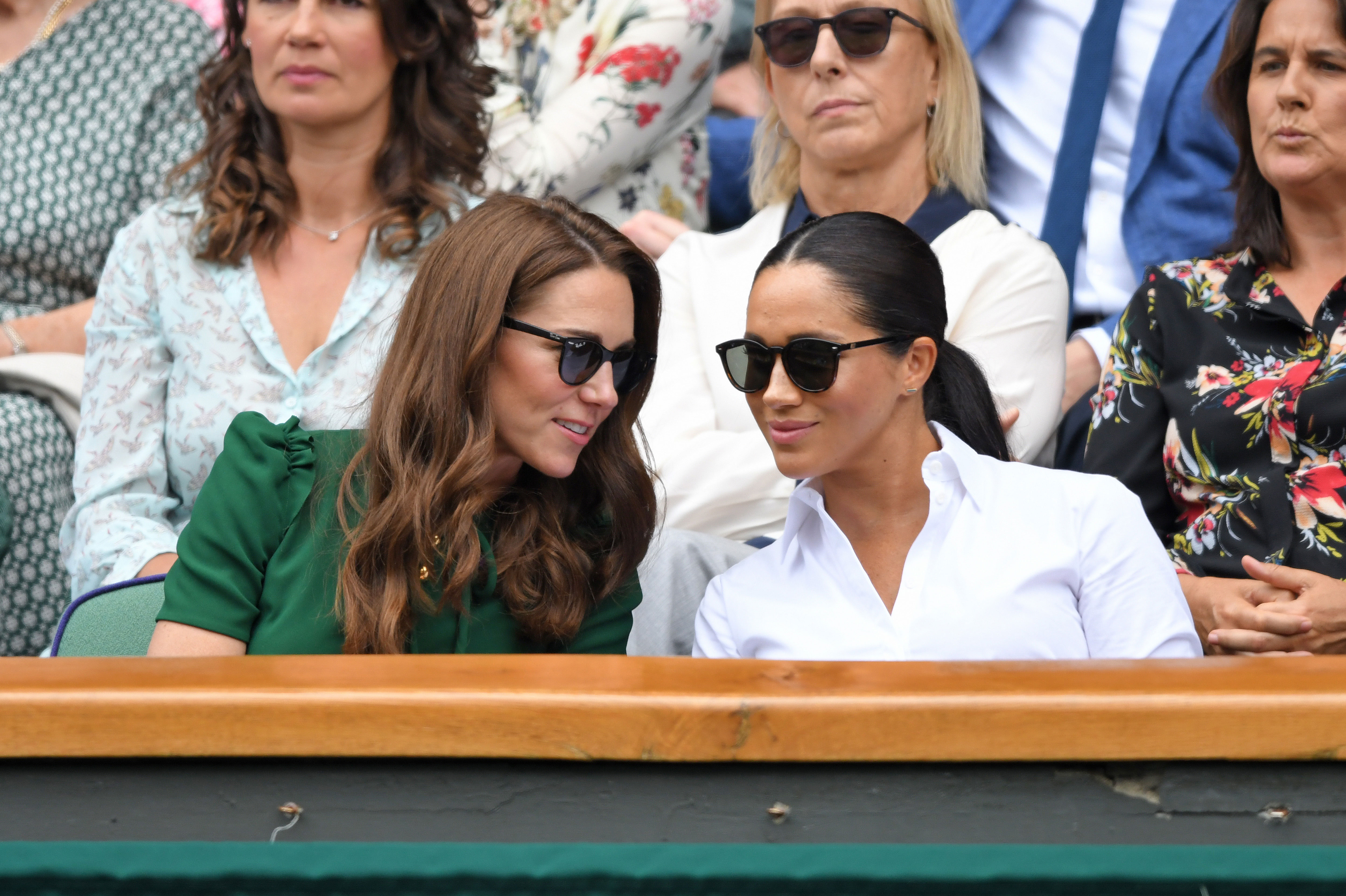 Catherine, Duchess of Cambridge, and Meghan, Duchess of Sussex, attend Wimbledon in London on July 13, 2019.