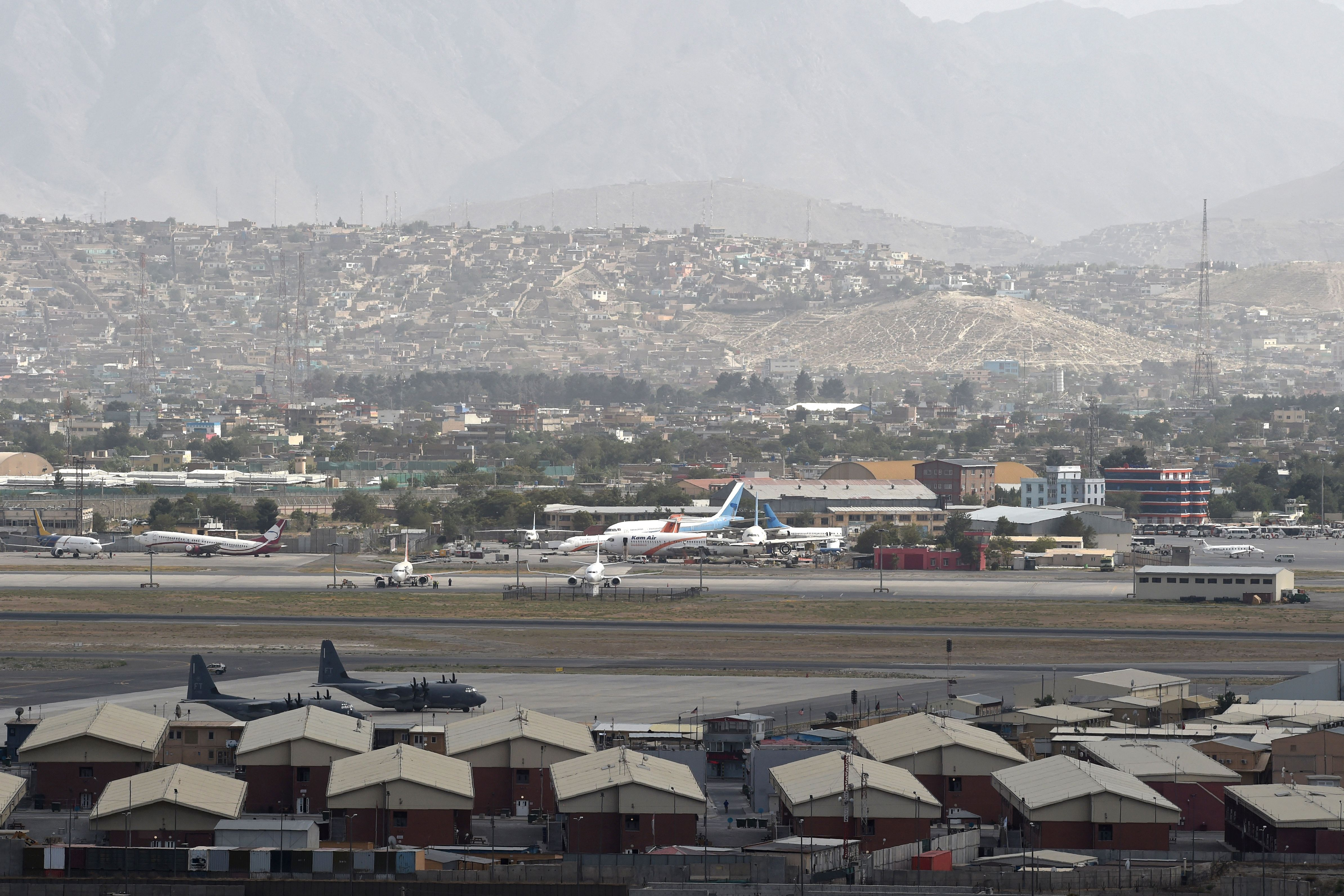 This picture taken on Saturday shows planes on the tarmac of the airport in Kabul.