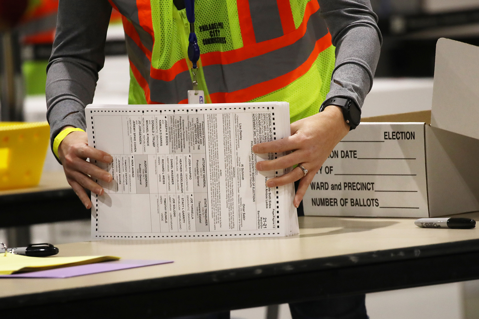 Election workers count ballots on November 4, in Philadelphia, Pennsylvania.