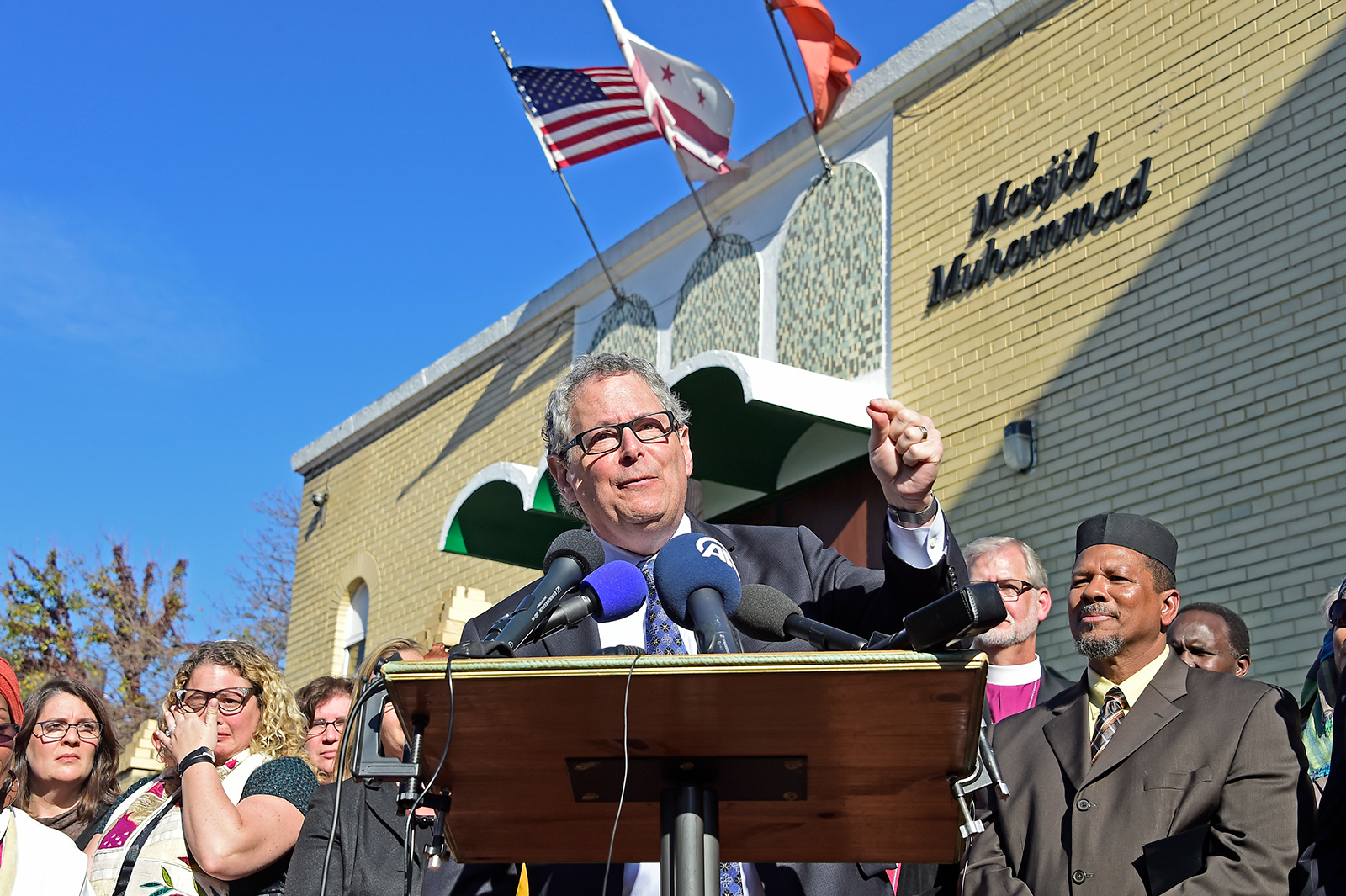 President of Interfaith Alliance, Rabbi Jack Moline, speaks at a press conference calling on then President-elect Donald Trump to respect religious liberty, in Washington DC, on November 18, 2016.