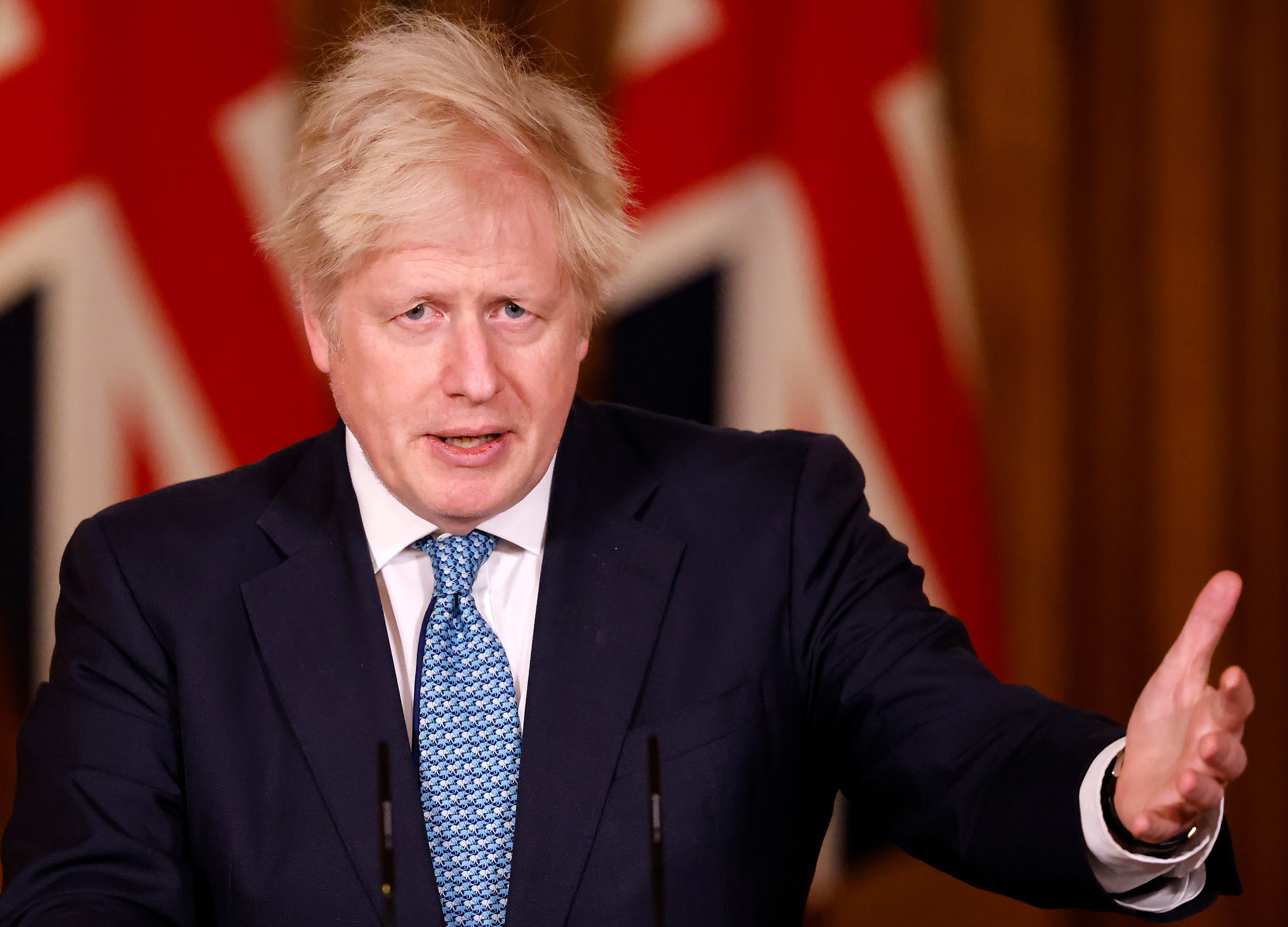 Britain's Prime Minister Boris Johnson speaks during a virtual press conference inside 10 Downing Street in London on December 21.