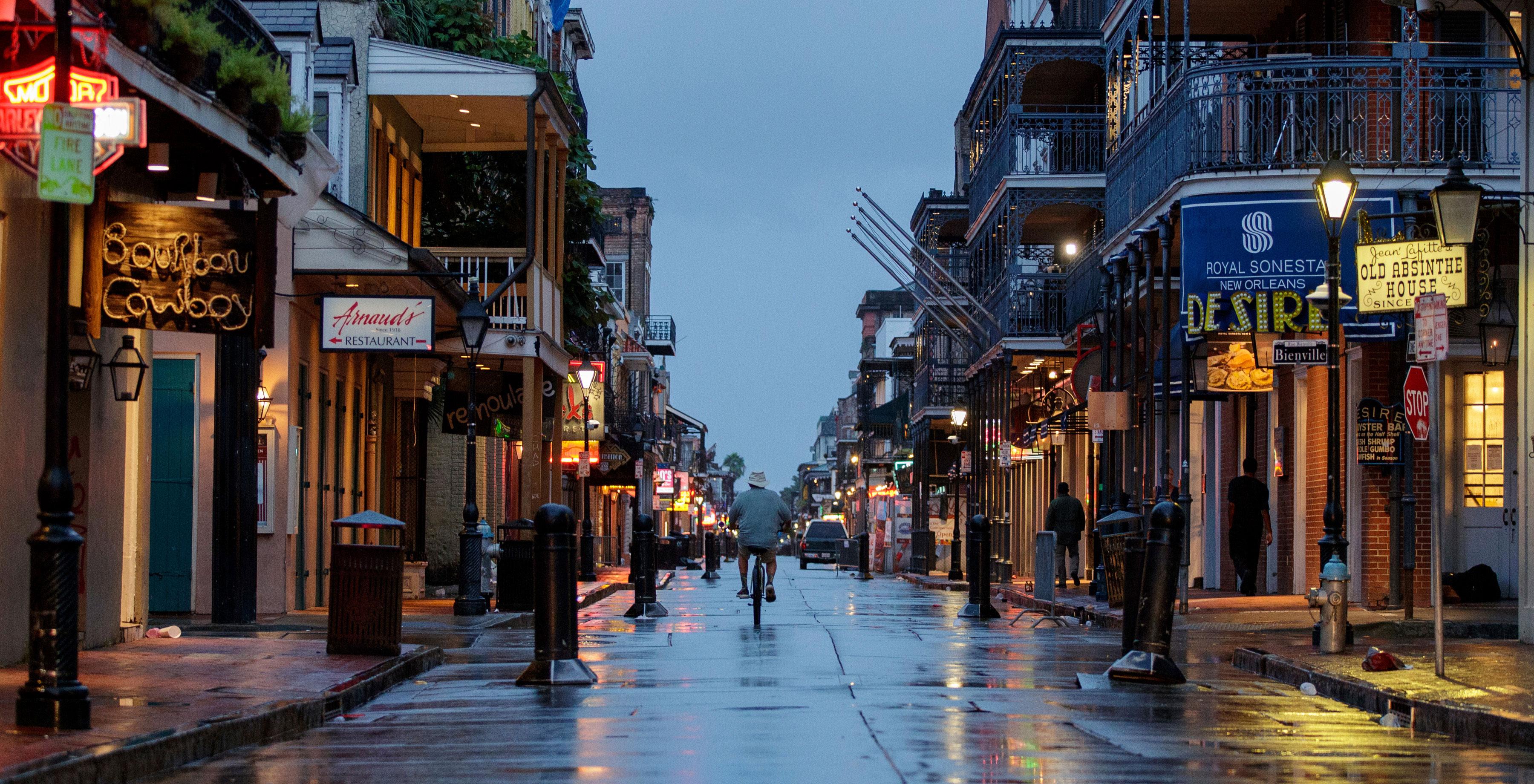 Bourbon Street is near empty ahead of Hurricane Ida in New Orleans on August 29, 2021.