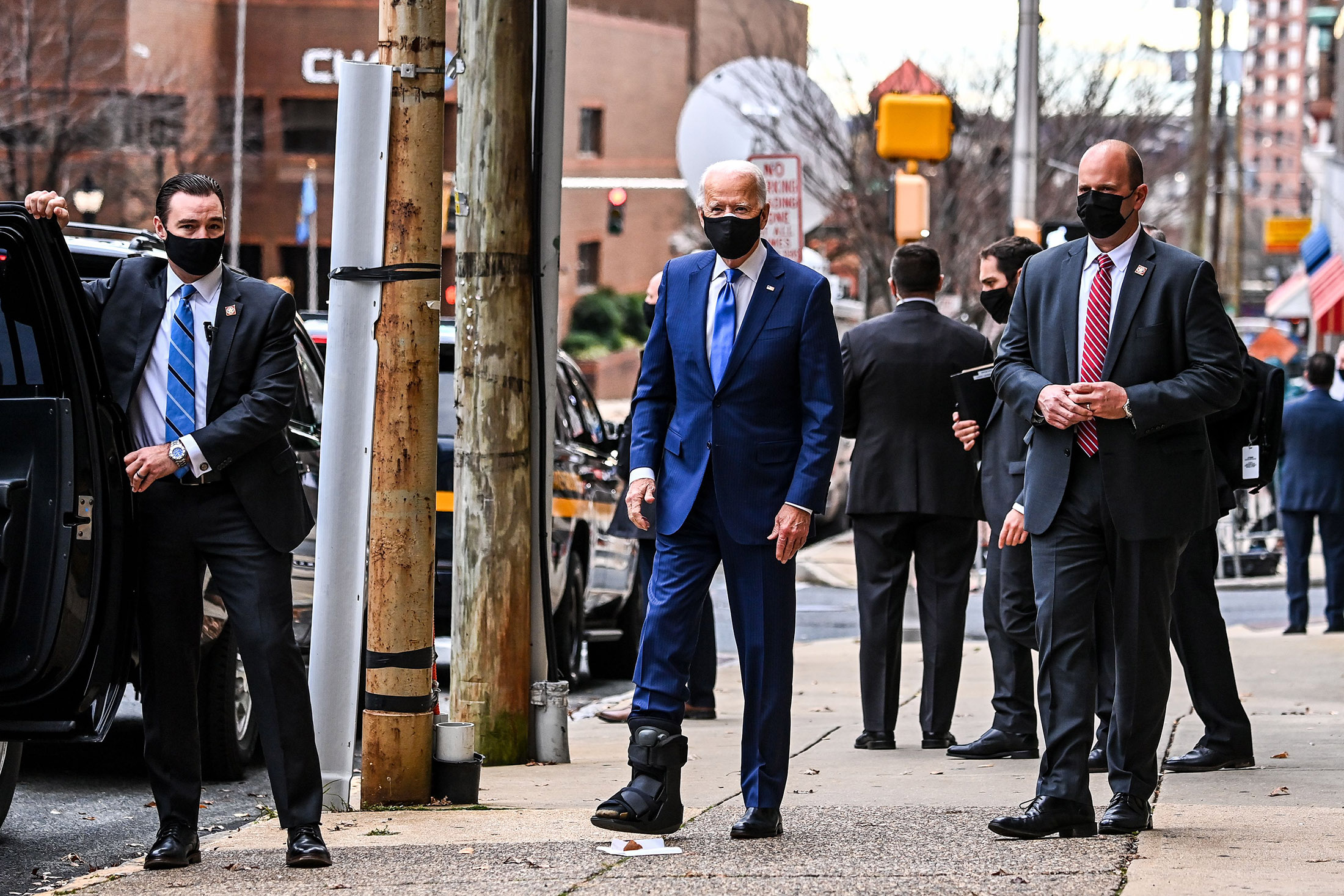 U.S. President-elect Joe Biden departs after a press conference at The Queen Theater in Wilmington, Delaware, on December 1.