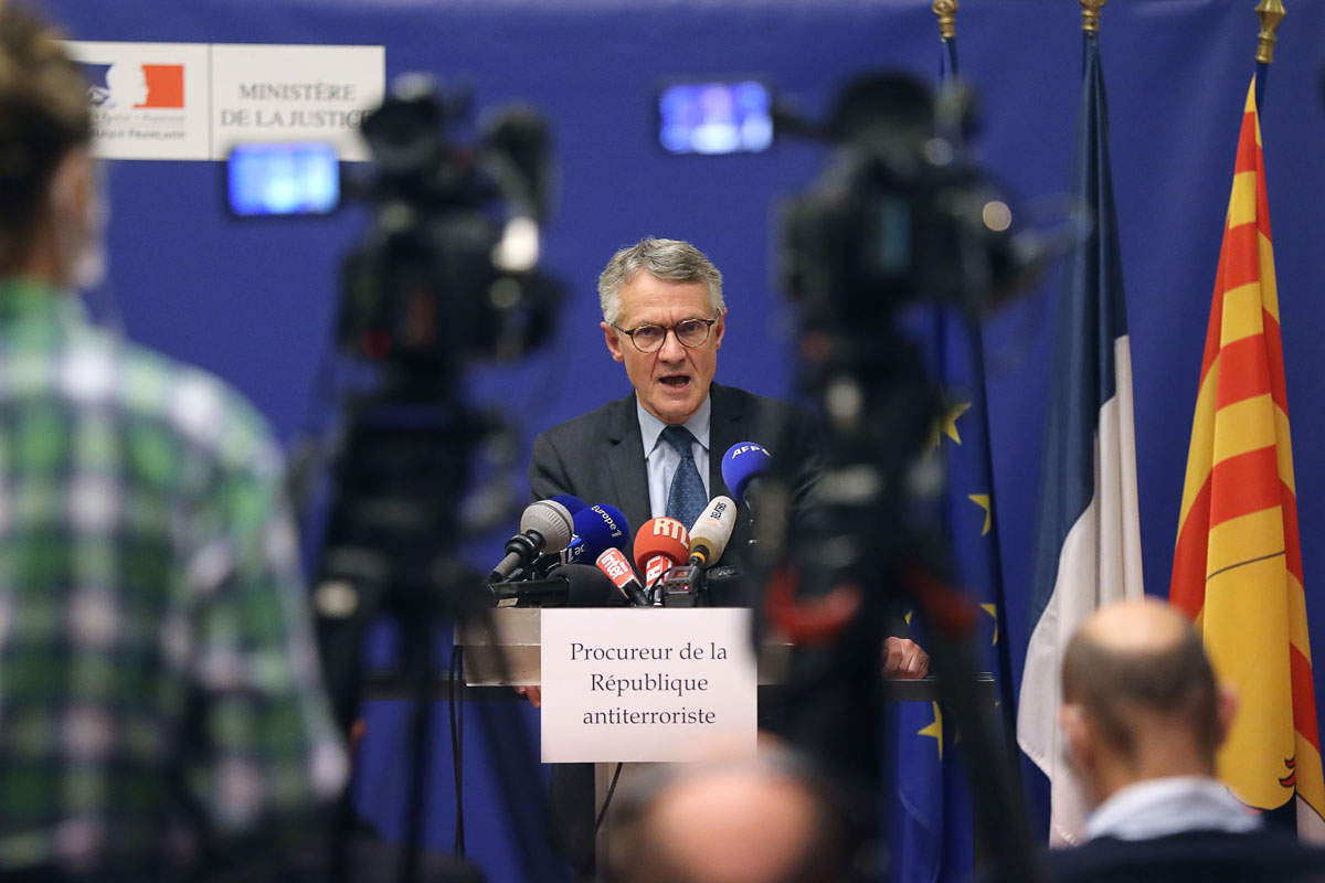 French anti-terrorism state prosecutor Jean-Francois Ricard delivers a press conference on October 29 in Nice, France.