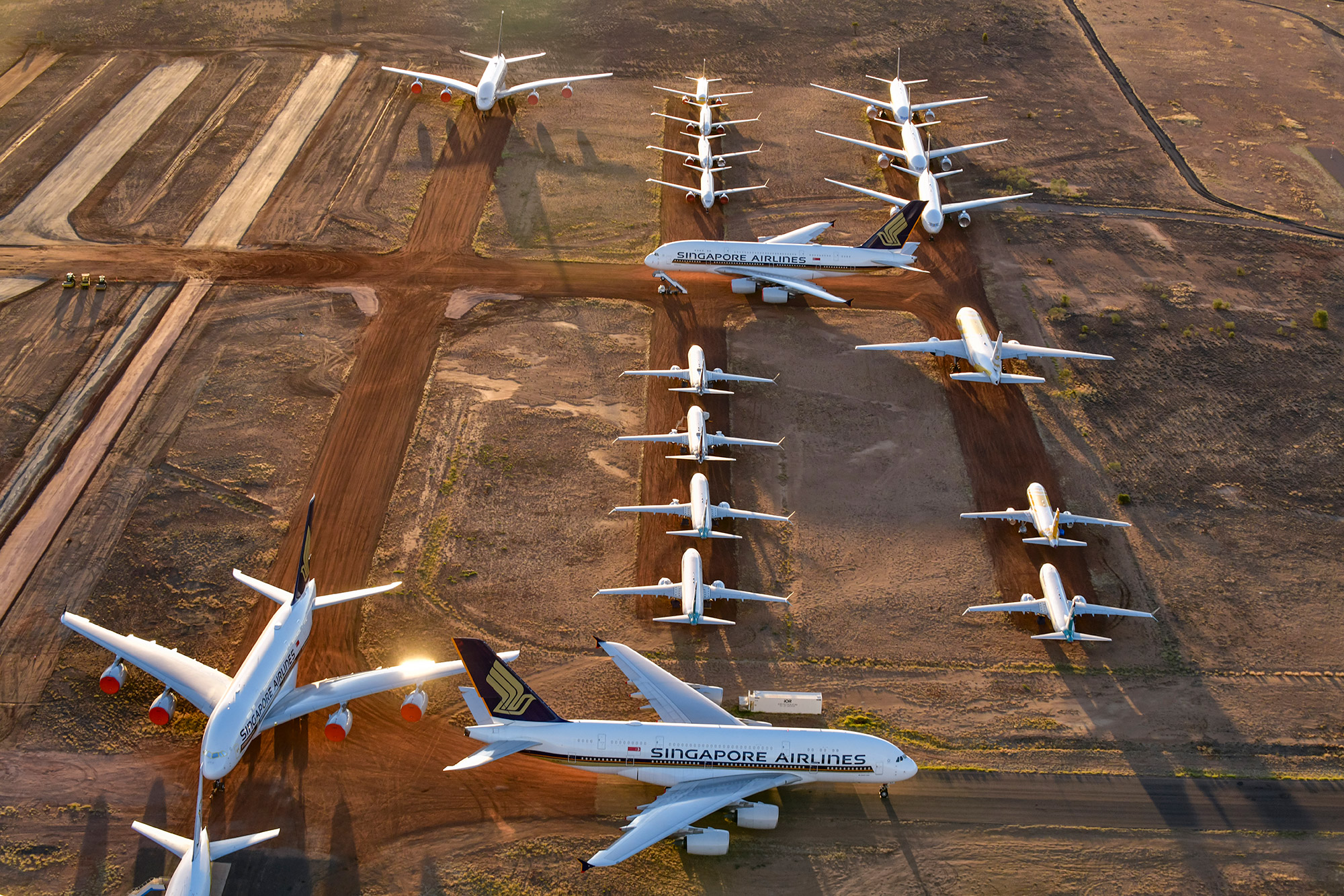 Grounded airplanes are seen in Alice Springs, Australia, on May 15.