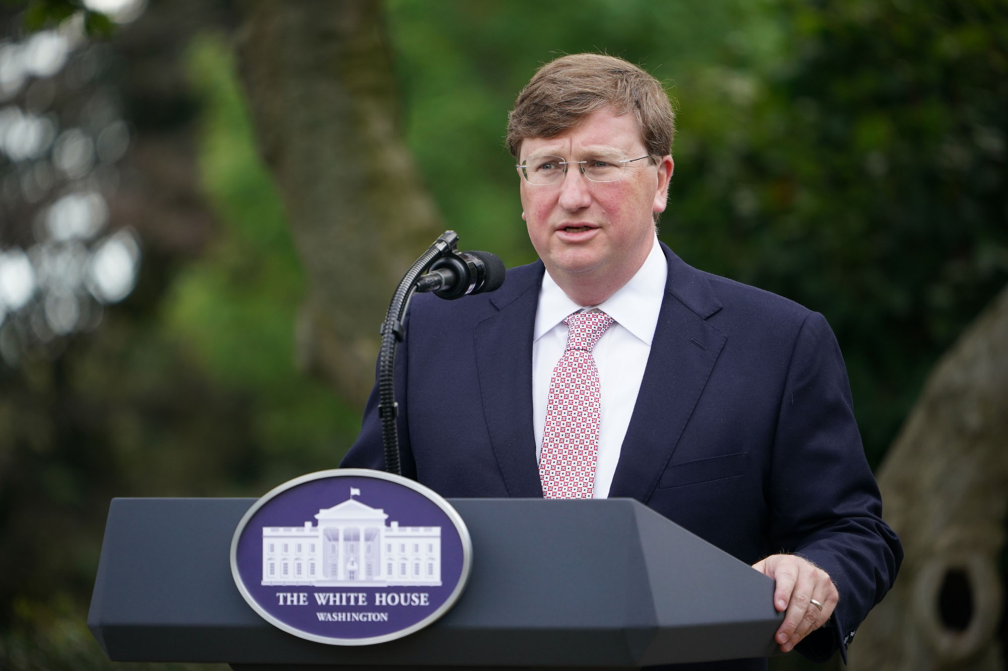 Mississippi Gov. Tate Reeves speaks on Covid-19 testing at the White House in Washington DC, on September 28.