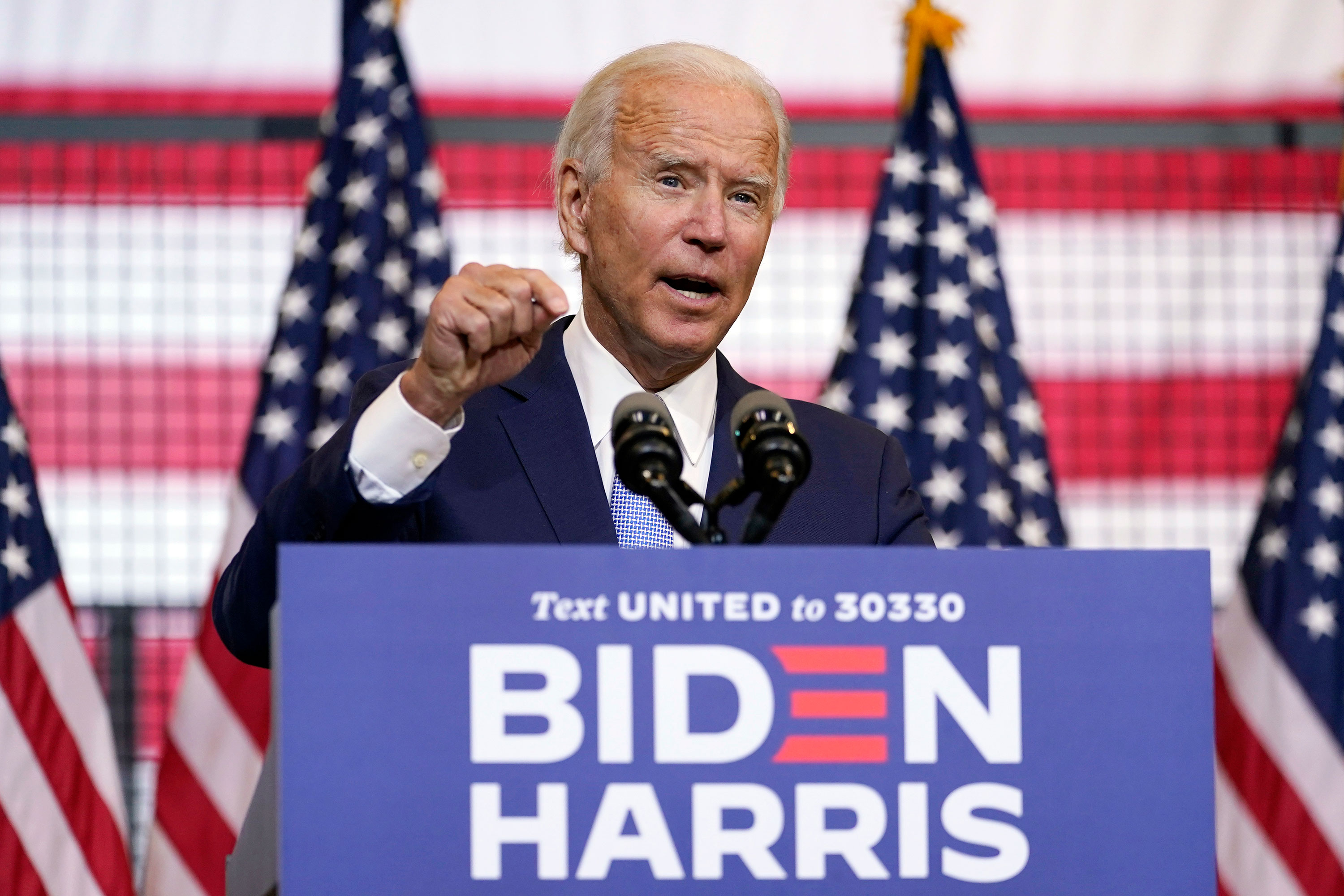 Democratic presidential candidate Joe Biden speaks at campaign event on August, 31 in Pittsburgh, Pennsylvania.