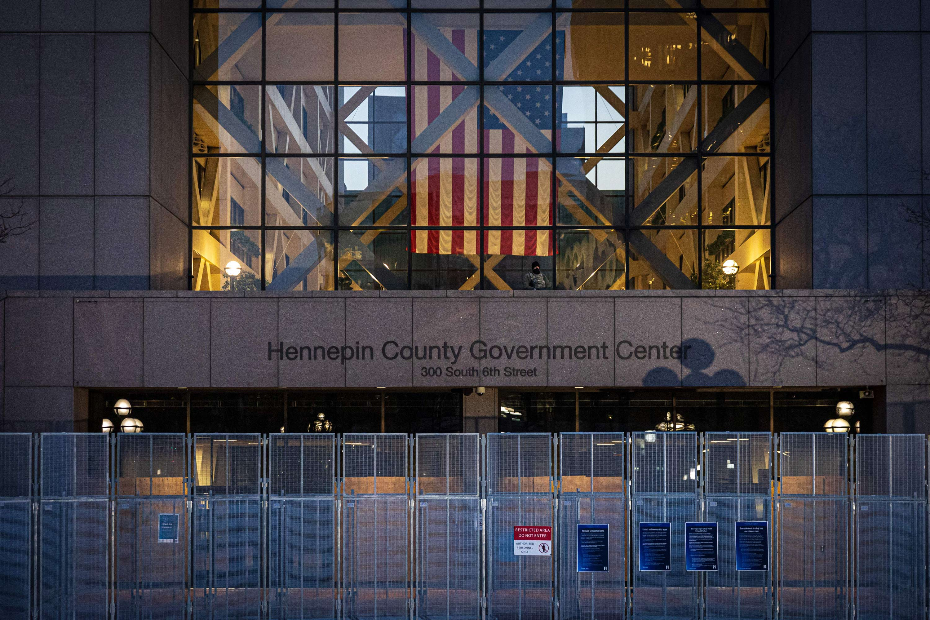 Minnesota National Guard stand guard outside the Hennepin County Government Center on March 29 in Minneapolis, Minnesota.