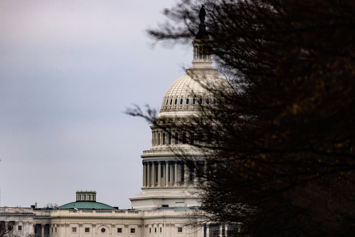 The US Capitol building is seen down Pennsylvania Avenue on December 20 in Washington, DC.