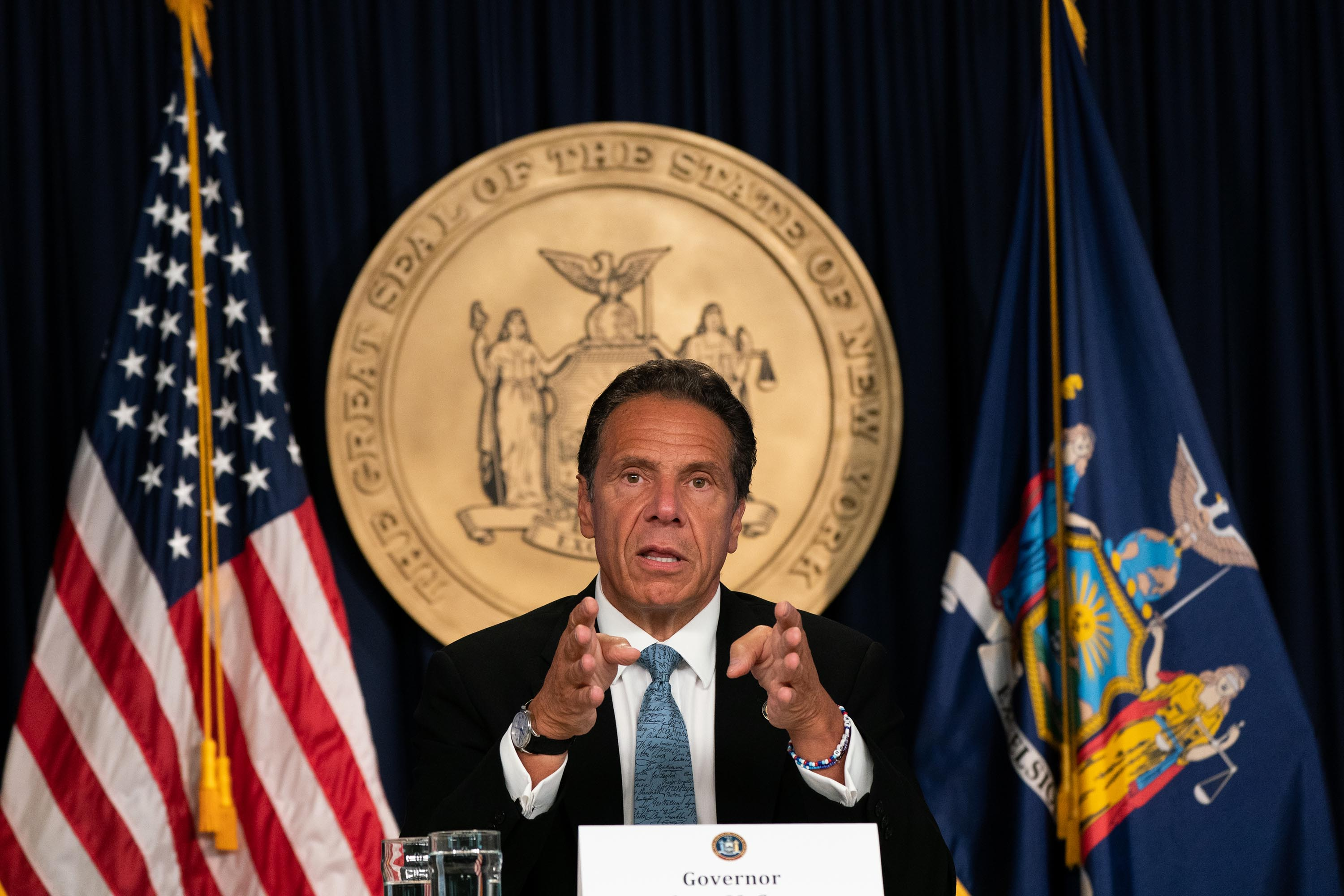 New York Gov. Andrew Cuomo is pictured speaking during a daily media briefing in New York City on July 23.