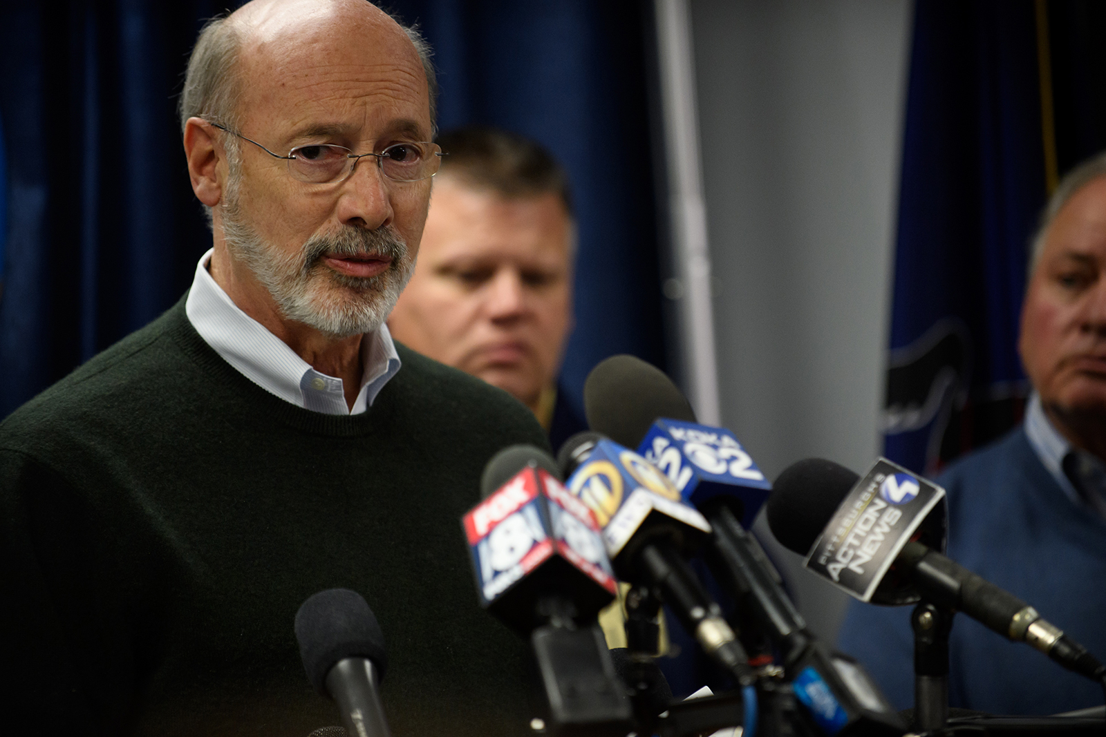 Pennsylvania Governor Tom Wolf pictured on October 27, 2018 in Pittsburgh, Pennsylvania.