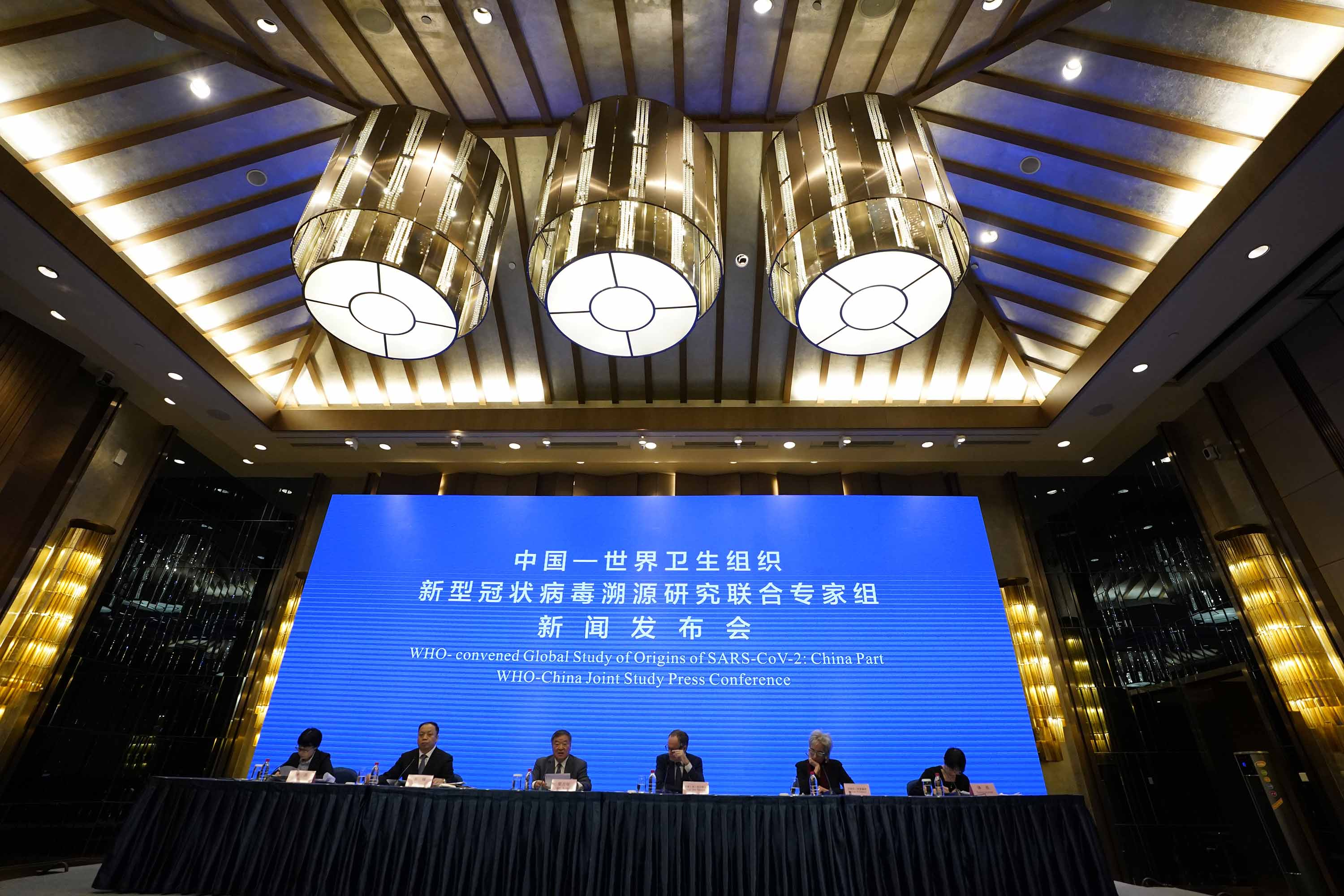 A WHO-China Joint Study Press Conference is held at the end of a WHO mission to investigate the origins of the coronavirus pandemic in Wuhan, China, on Tuesday, February 9.