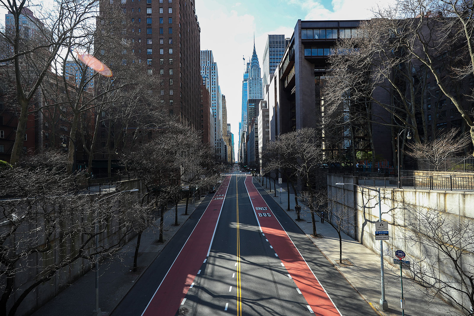 An empty New York City street in March.