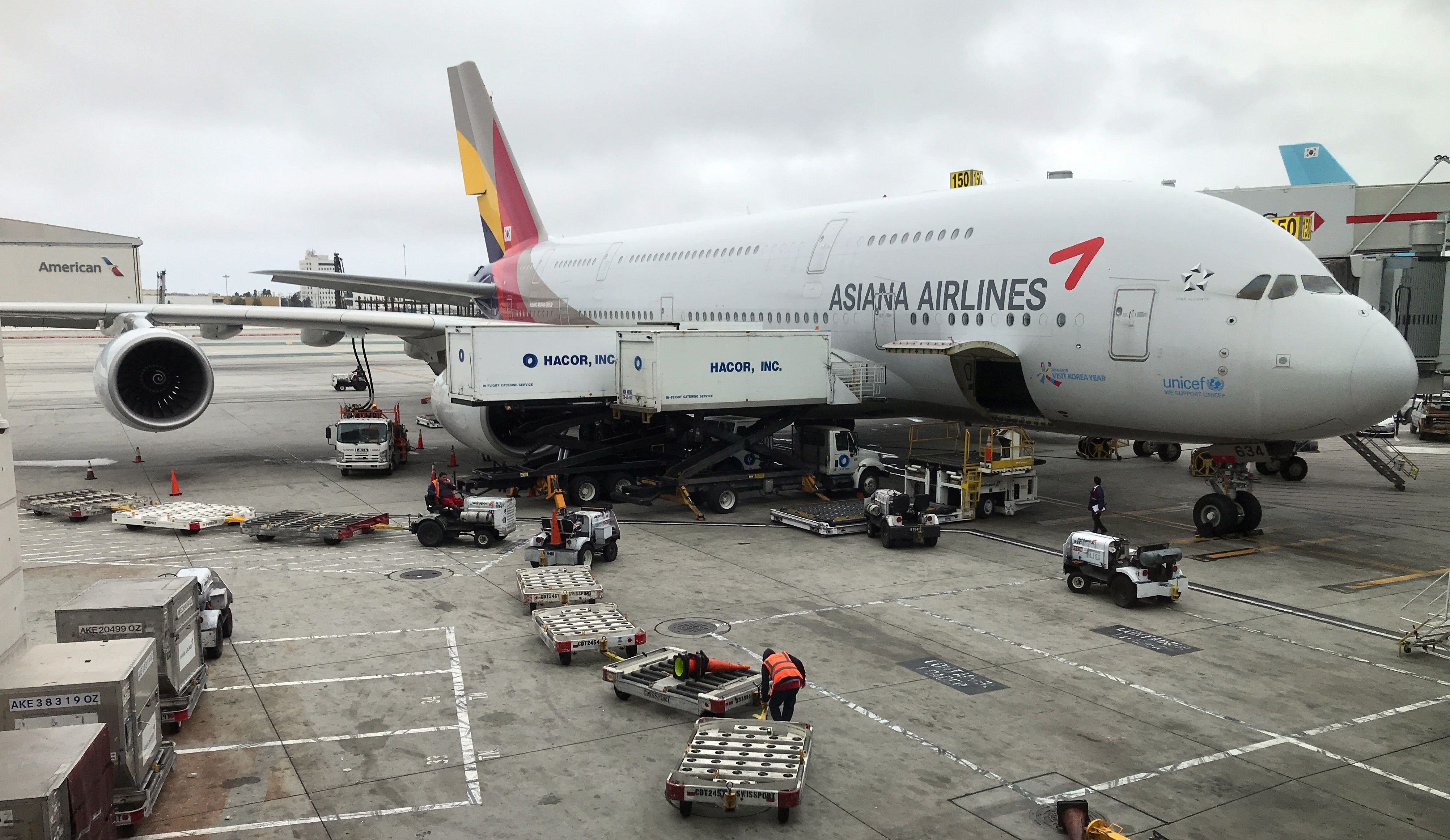 An Asiana Airlines plane in Los Angeles on May 24, 2018.