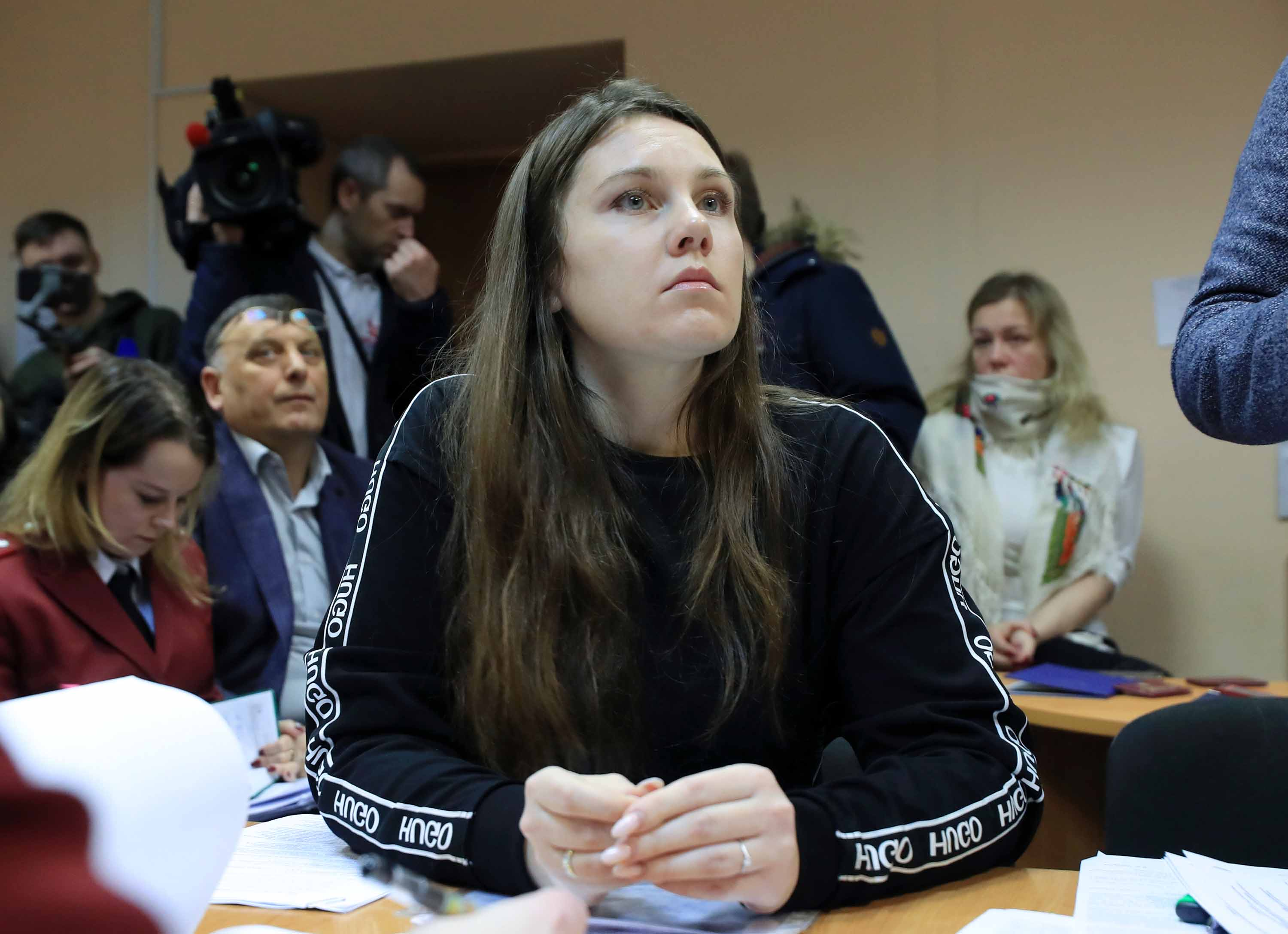 Alla Ilyina attends a hearing for a complaint brought by Natalia Bashketova, St. Petersburg's Chief Sanitary Physician, at the Petrogradsky District Court on Monday.