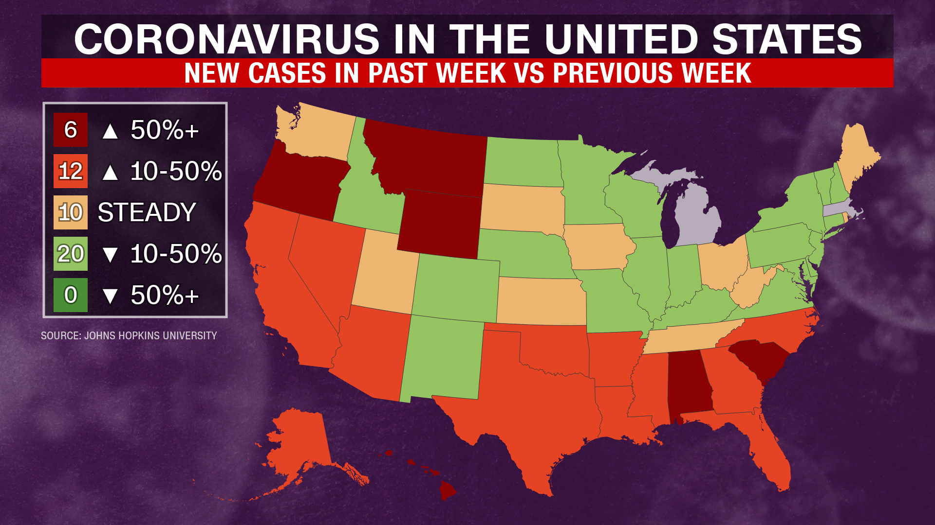 Coronavirus Infection Rates Rise in 22 States