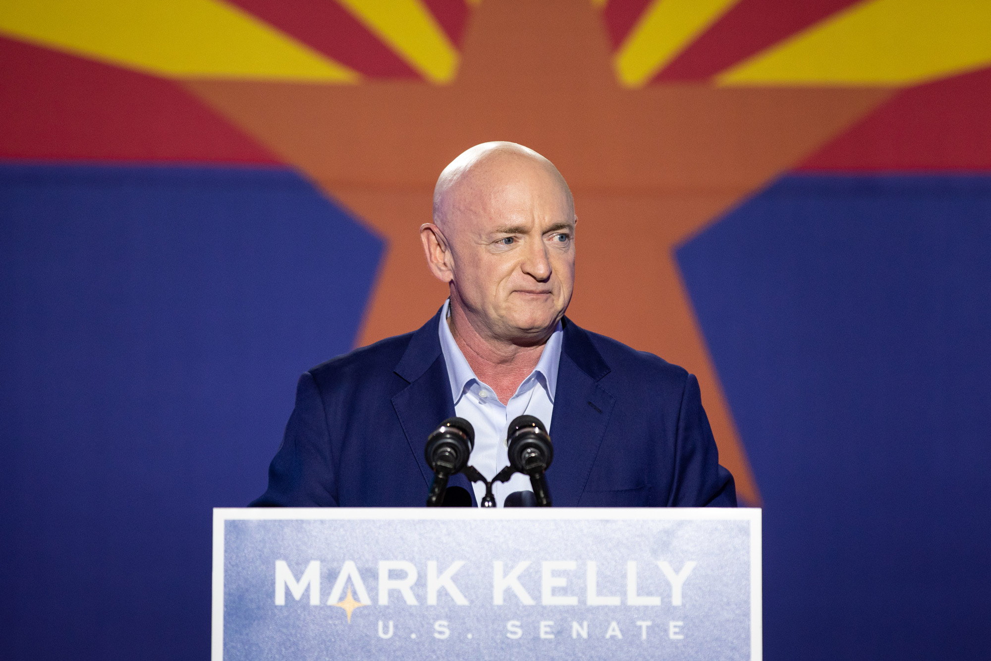 Democratic U.S. Senate candidate Mark Kelly speaks to supporters during the Election Night event at Hotel Congress on November 3 in Tucson, Arizona.