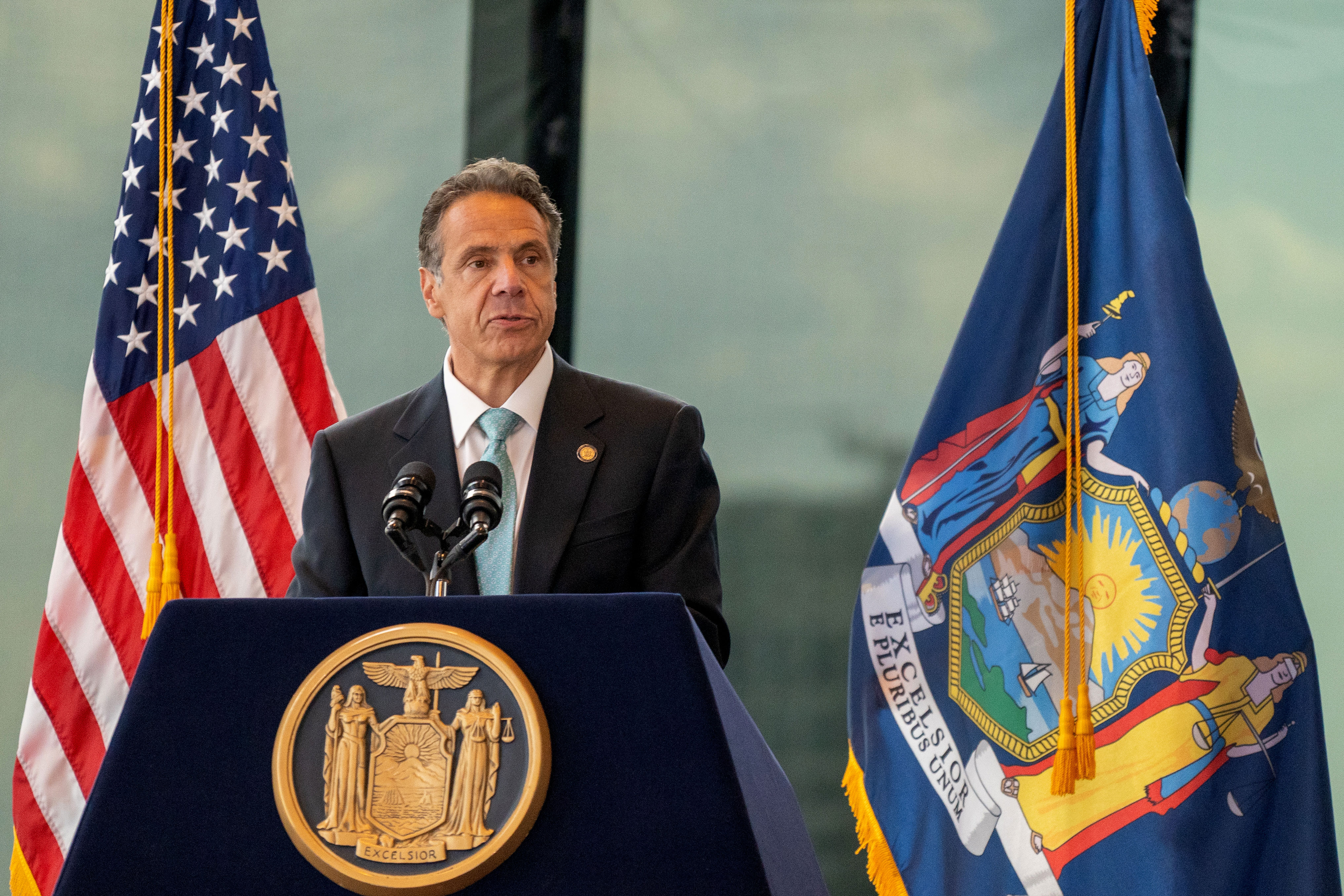 New York Gov. Andrew Cuomo speaks during a press conference at One World Trade Center in New York on June 15, 2021.