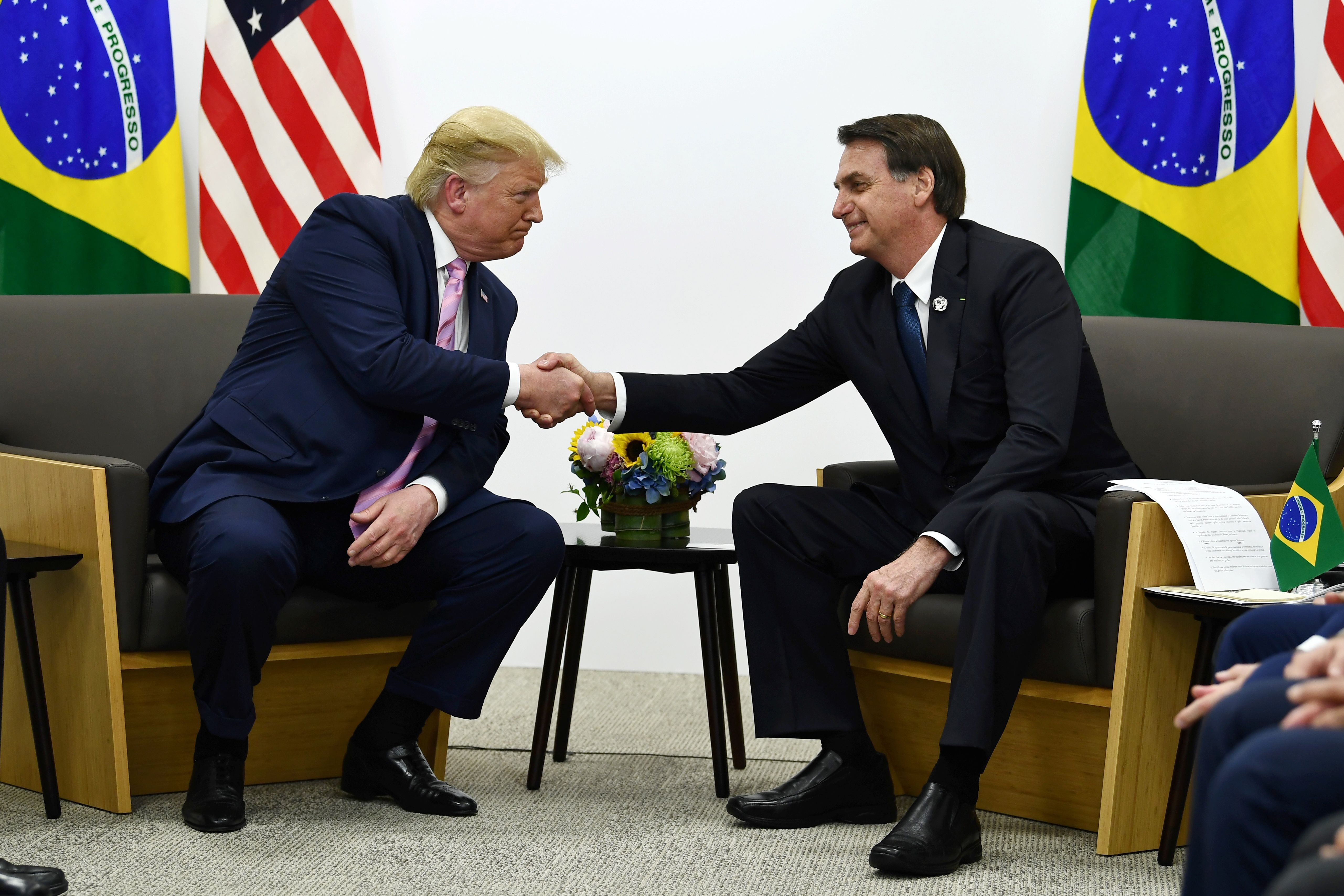Brazil's President Jair Bolsonaro meets with US President Donald Trump during a bilateral meeting on the sidelines of the G20 Summit in Osaka on June 28.