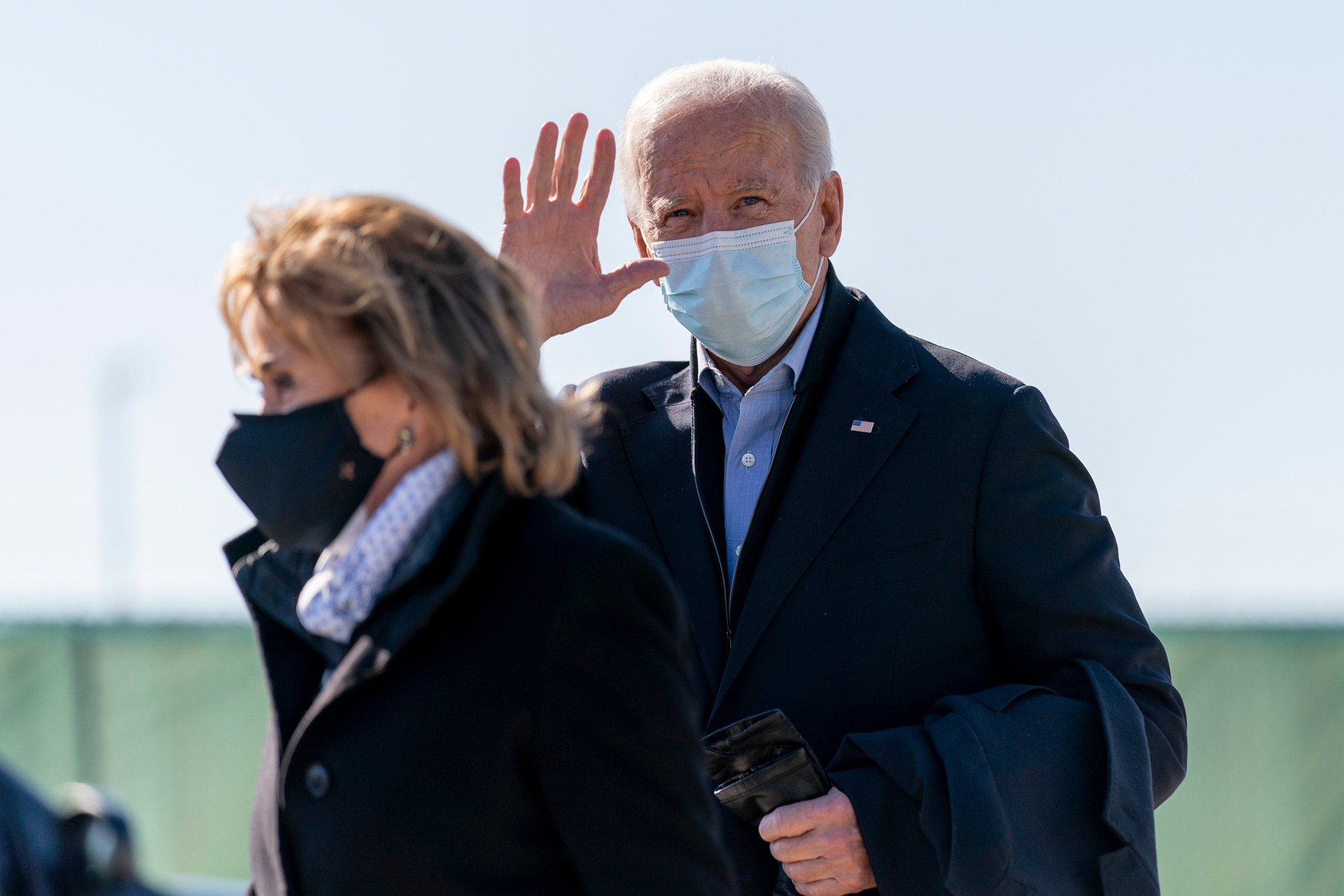 Democratic presidential candidate former Vice President Joe Biden, accompanied by his sister Valerie Biden, arrives at Des Moines International Airport in Des Moines, Iowa, on October 30.