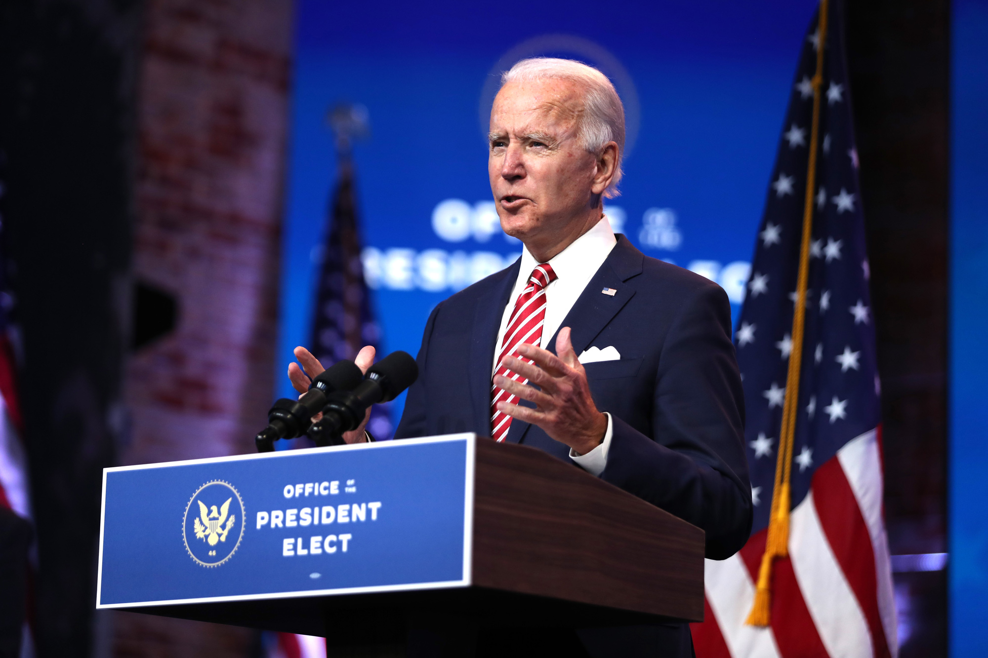President-elect Joe Biden delivers remarks about the U.S. economy during a press briefing at the Queen Theater on November 16 in Wilmington, Delaware.