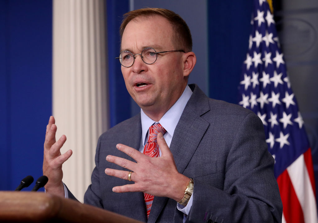 Acting White House Chief of Staff Mick Mulvaney answers questions during a briefing at the White House in October