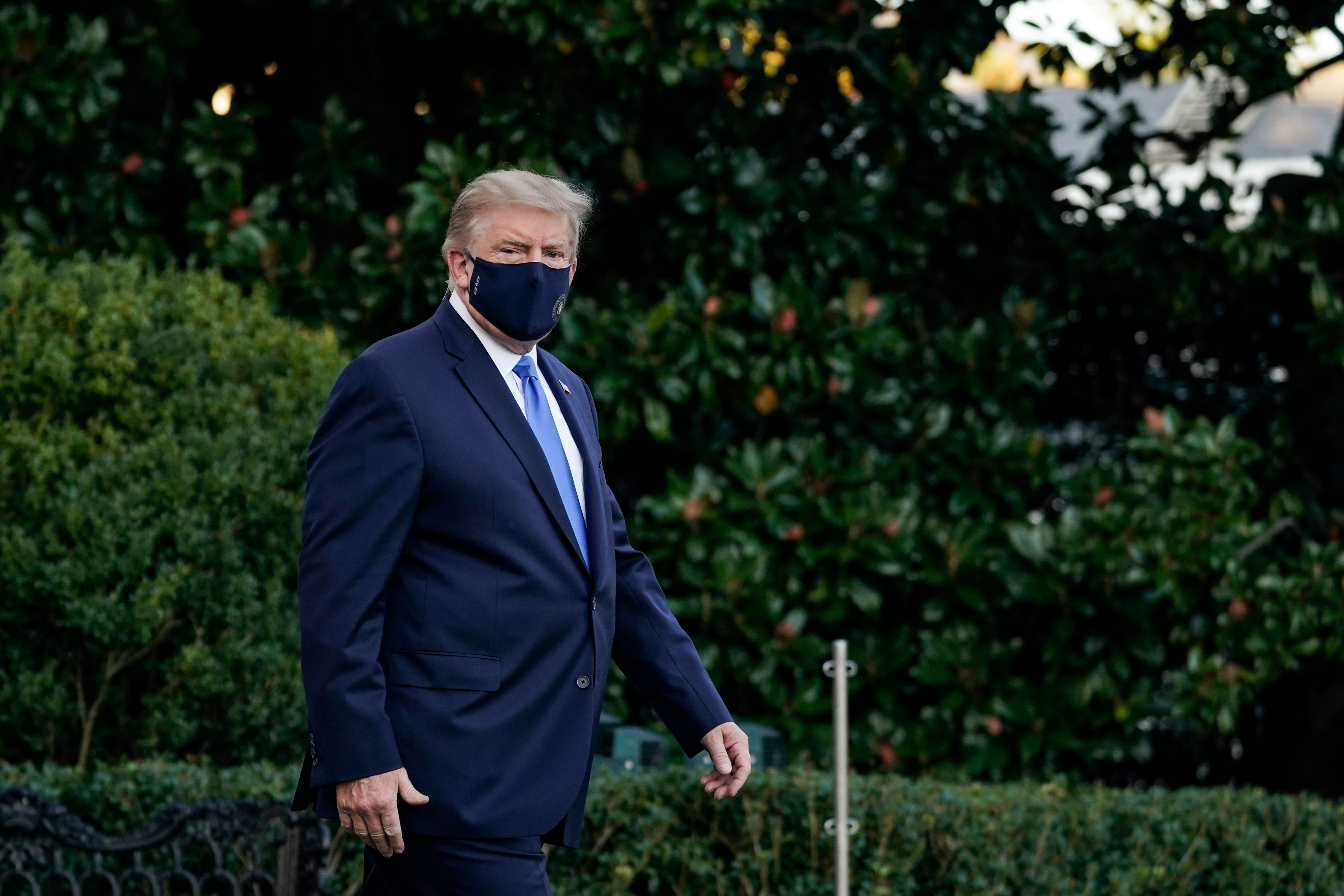 Then US President Donald Trump leaves the White House for Walter Reed medical center on October 2, 2020, after his Covid-19 diagnosis.