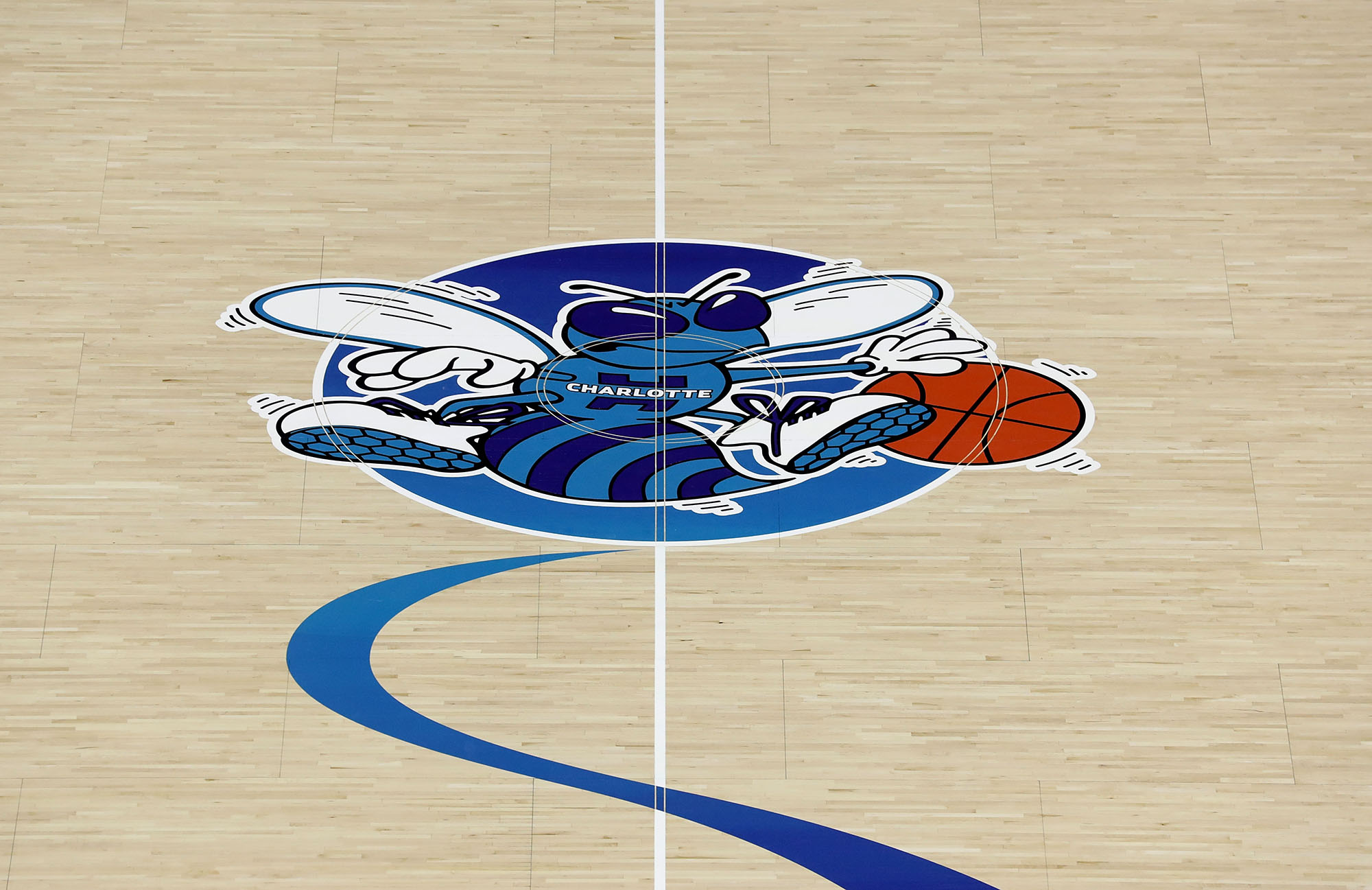 The Charlotte Hornets logo at the Spectrum Center in Charlotte, North Carolina, on October 17, 2018.