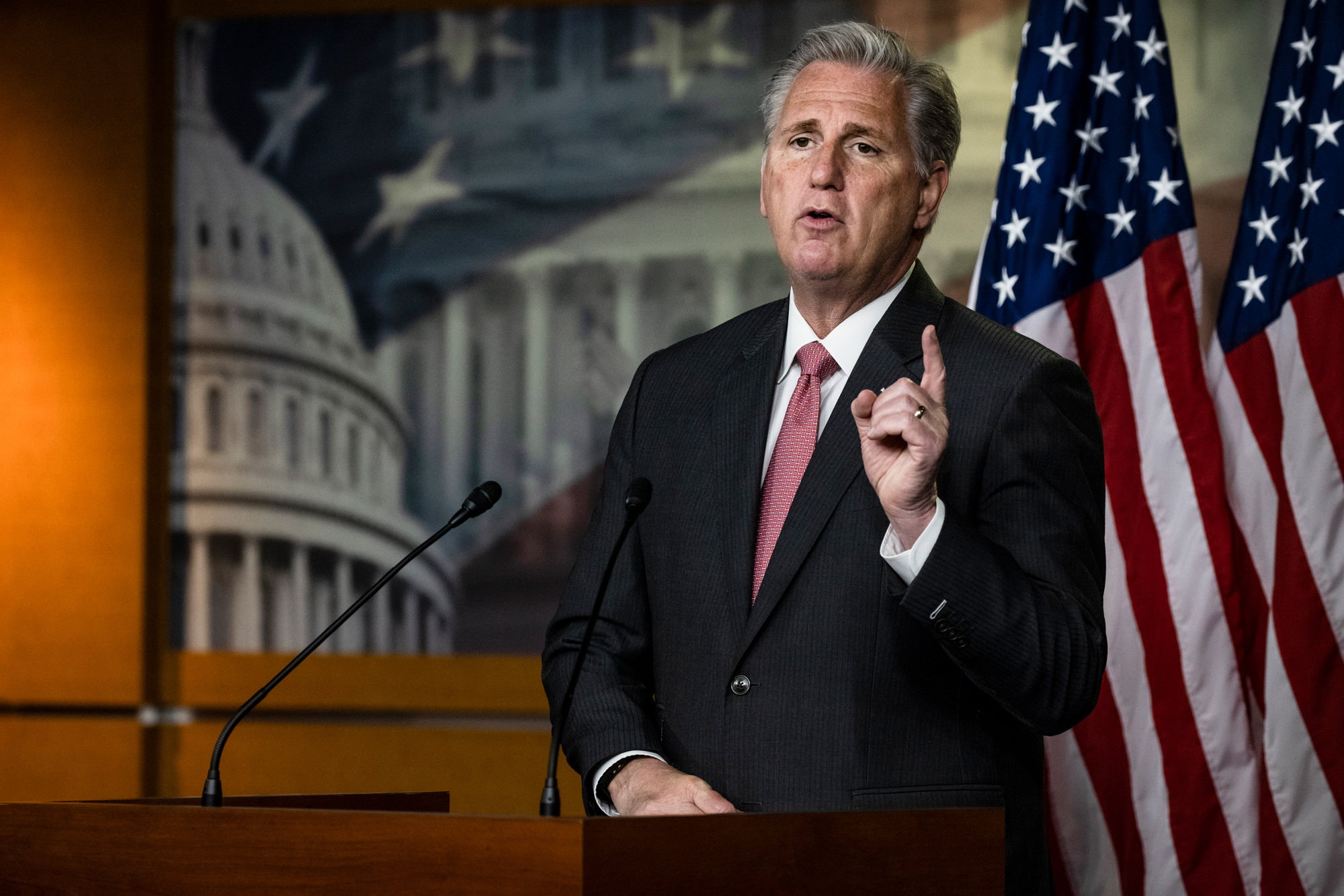 House Minority Leader Kevin McCarthy speaks during a press conference at the U.S. Capitol on November 12 in Washington, DC.