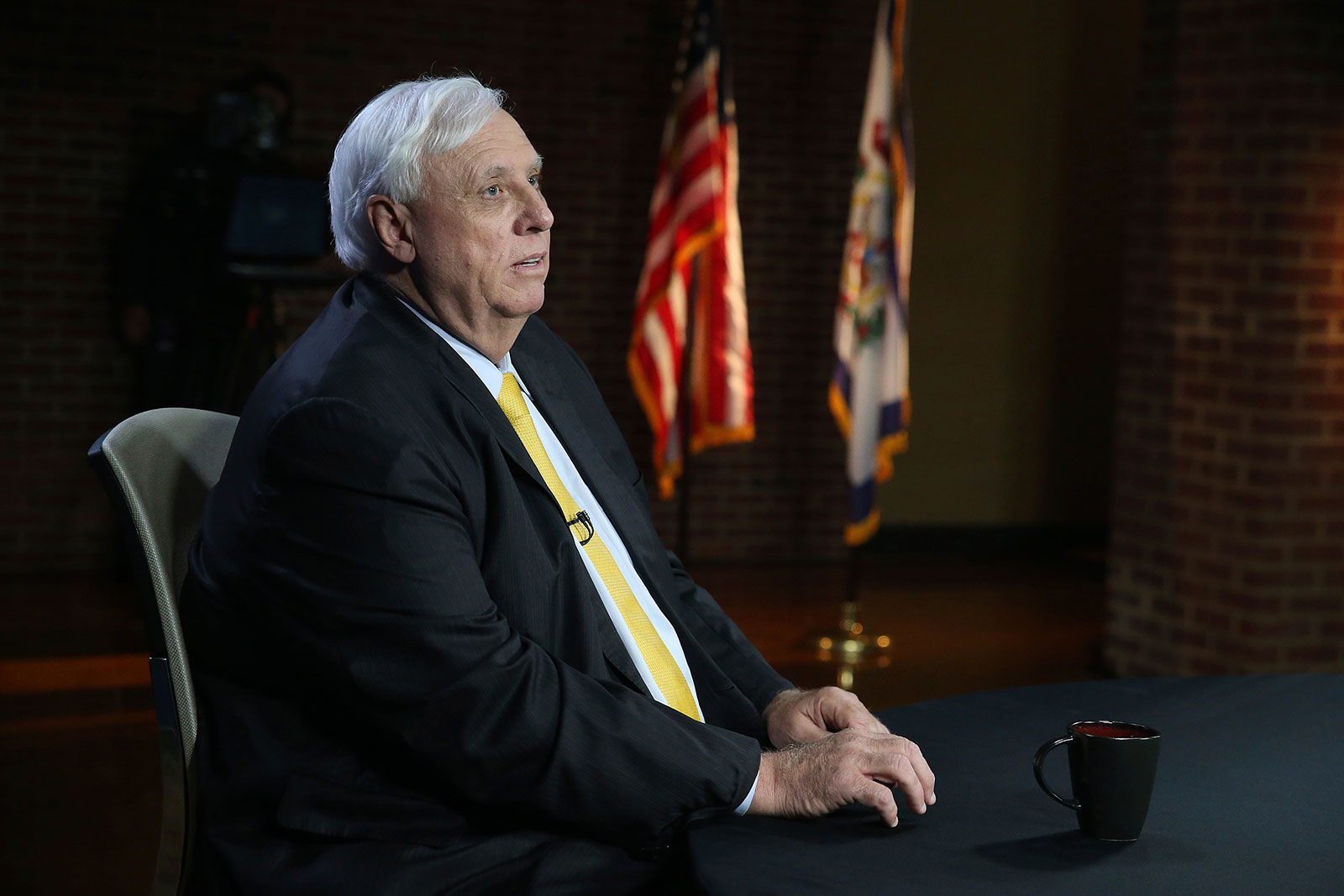 West Virginia Gov. Jim Justice prepares for a debate in Morgantown, West Virginia, in October.