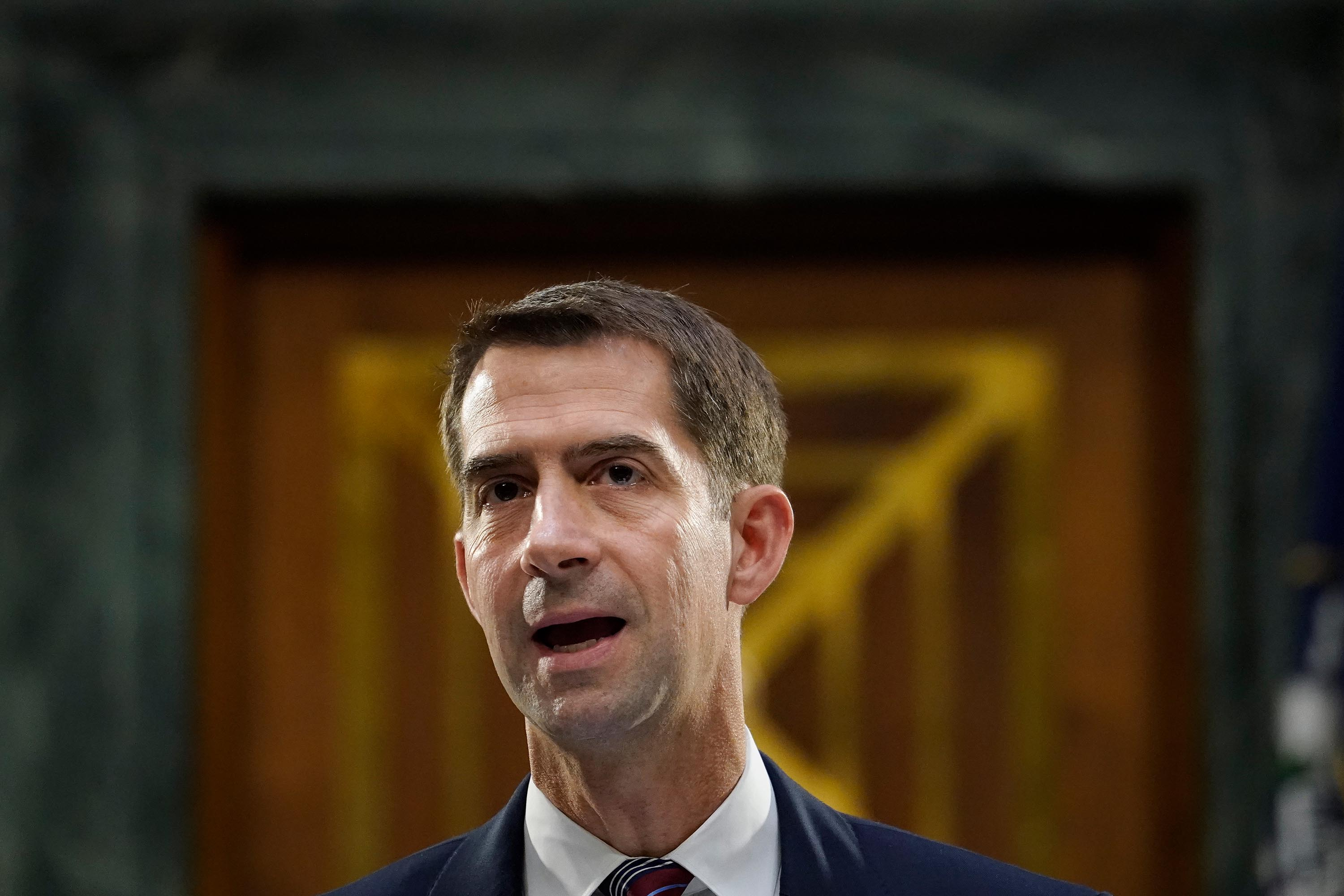 Sen. Tom Cotton questions witnesses during a Senate Banking Committee hearing on Capitol Hill on September 24.