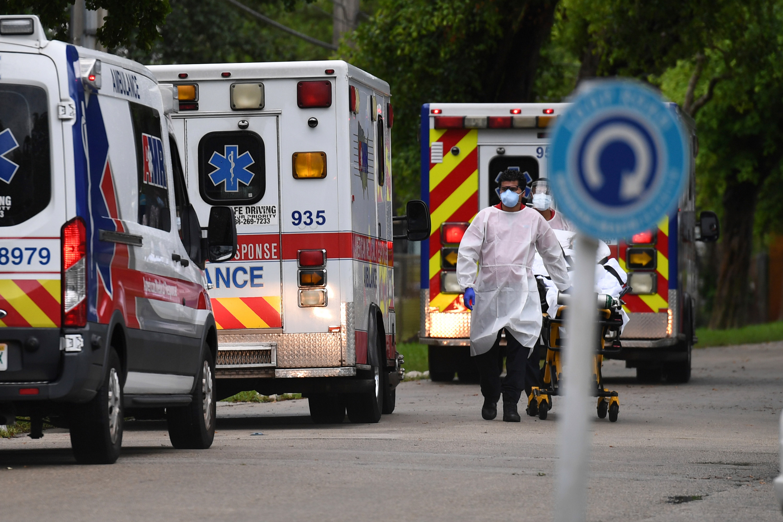Ambulances line up outside of Broward Health Hospital on July 17 in Fort Lauderdale, Florida.