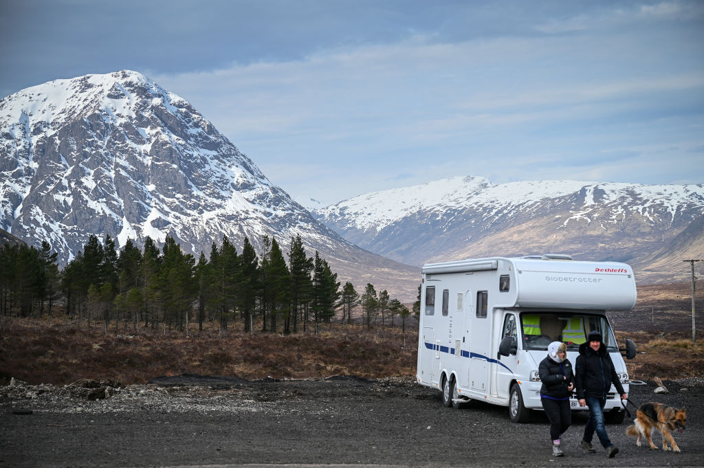 A mobile home in Glen Coe in the Scottish Highlands on Sunday.